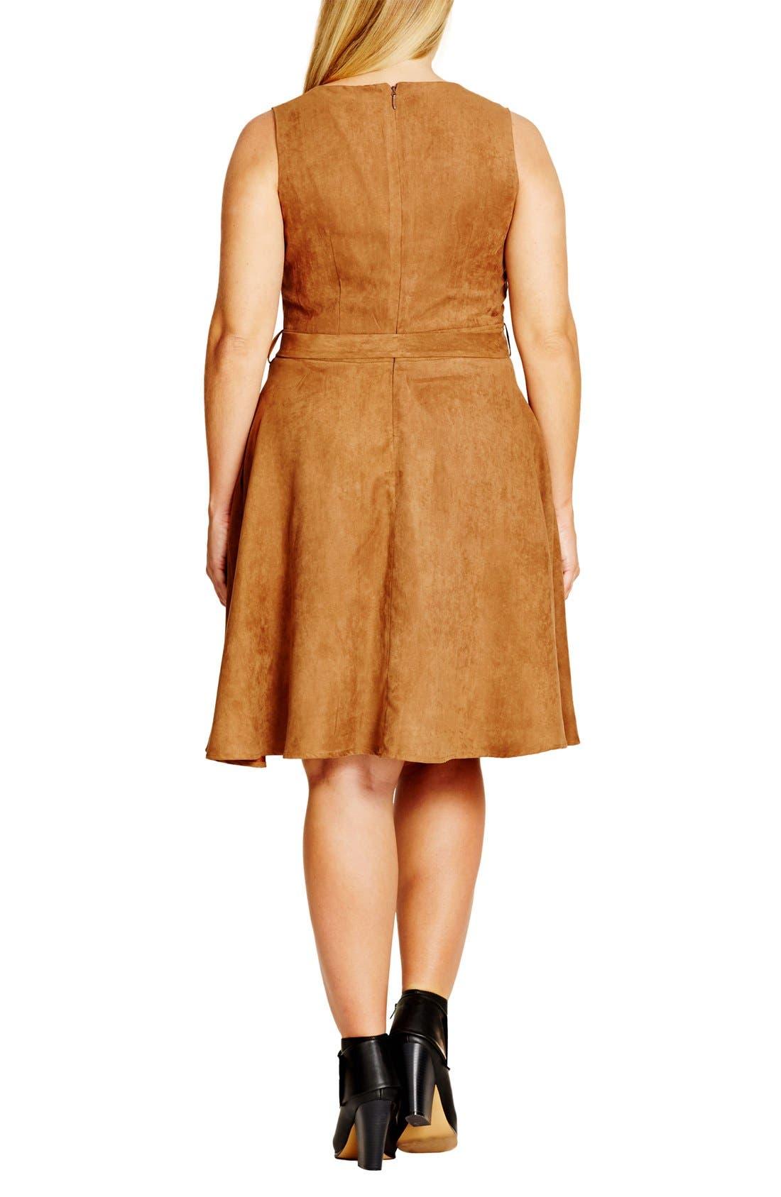Alternate Image 2  - City Chic Faux Suede Fit & Flare Dress (Plus Size)