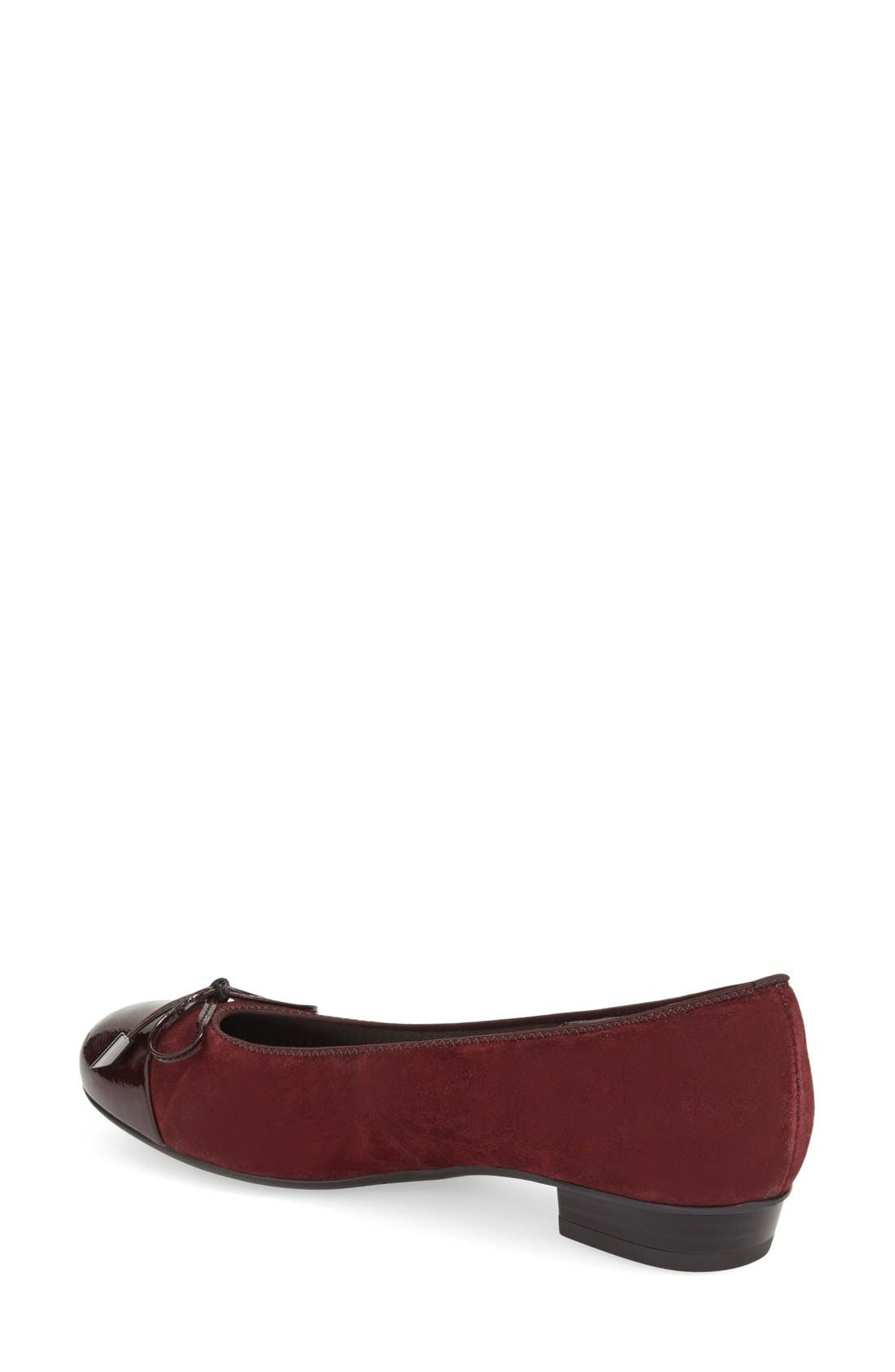 'Betty' Cap Toe Flat,                             Alternate thumbnail 2, color,                             Burgundy Patent Leather