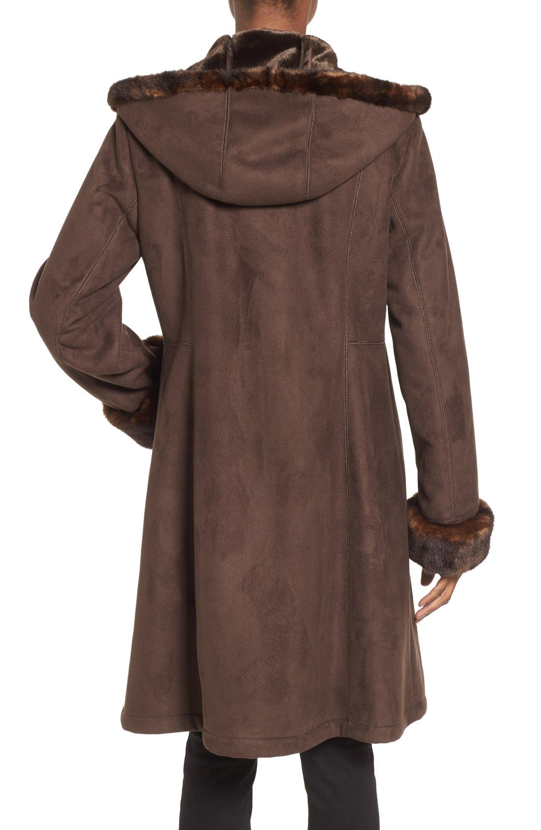 Hooded Faux Shearling Long A-Line Coat,                             Alternate thumbnail 2, color,                             Chocolate