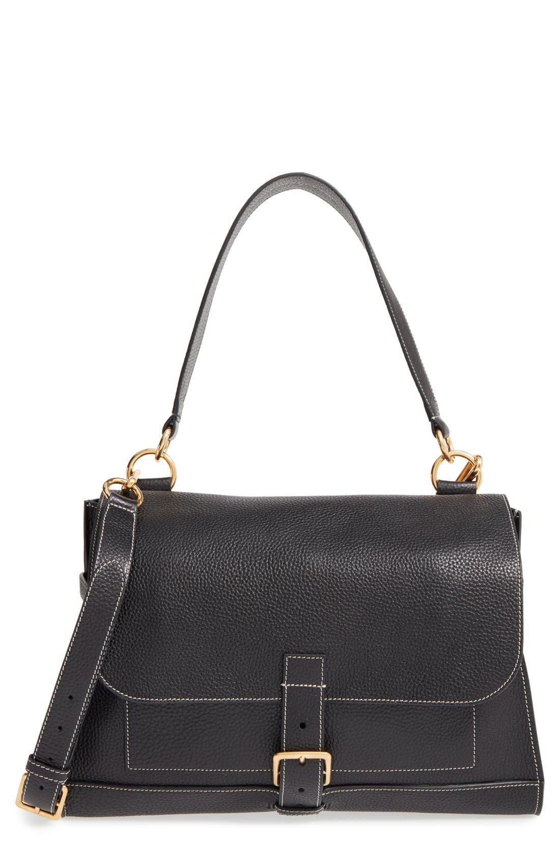 'Small Buckle' Leather Shoulder Bag,                             Main thumbnail 1, color,                             Black