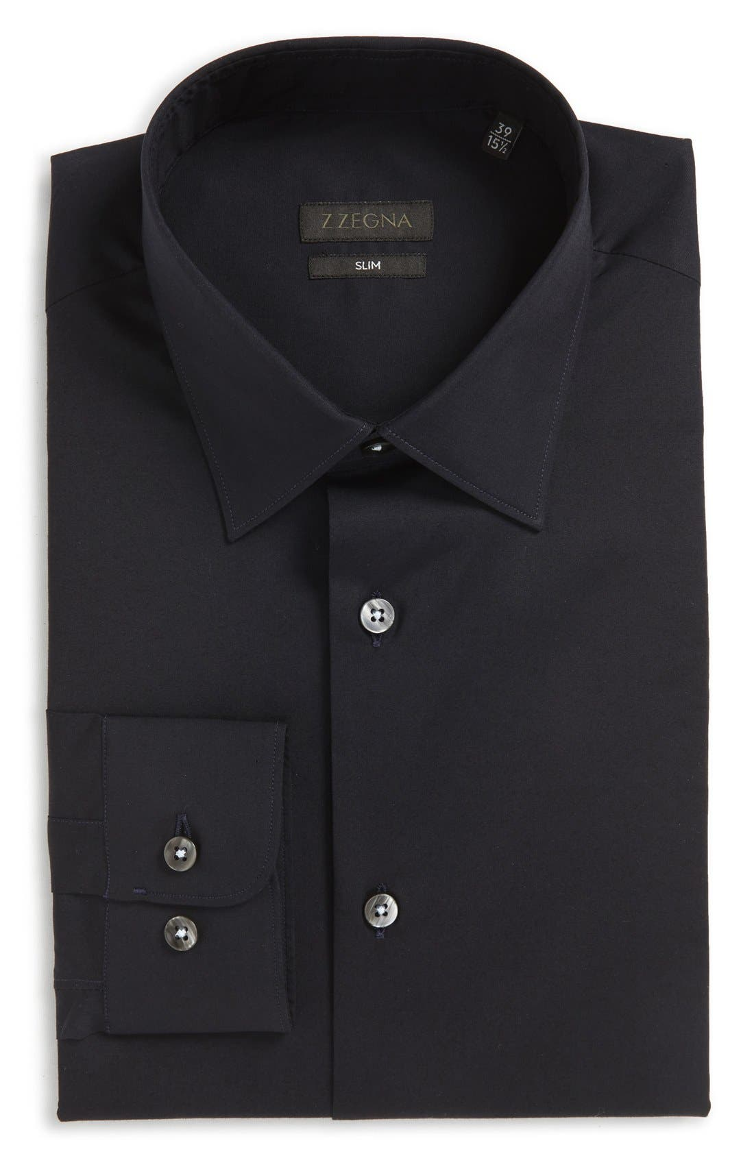 Z Zegna Slim Fit Solid Stretch Dress Shirt