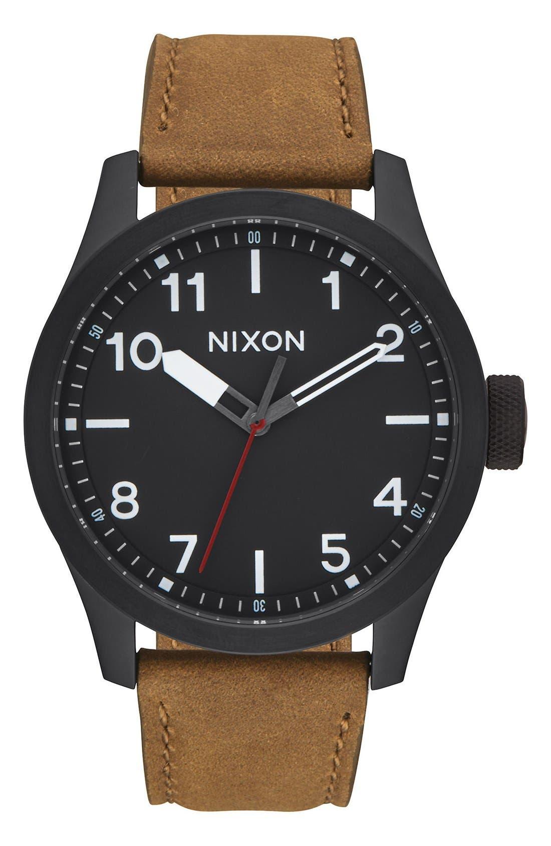 'Safari' Leather Strap Watch, 43mm,                         Main,                         color, Brown/ Black