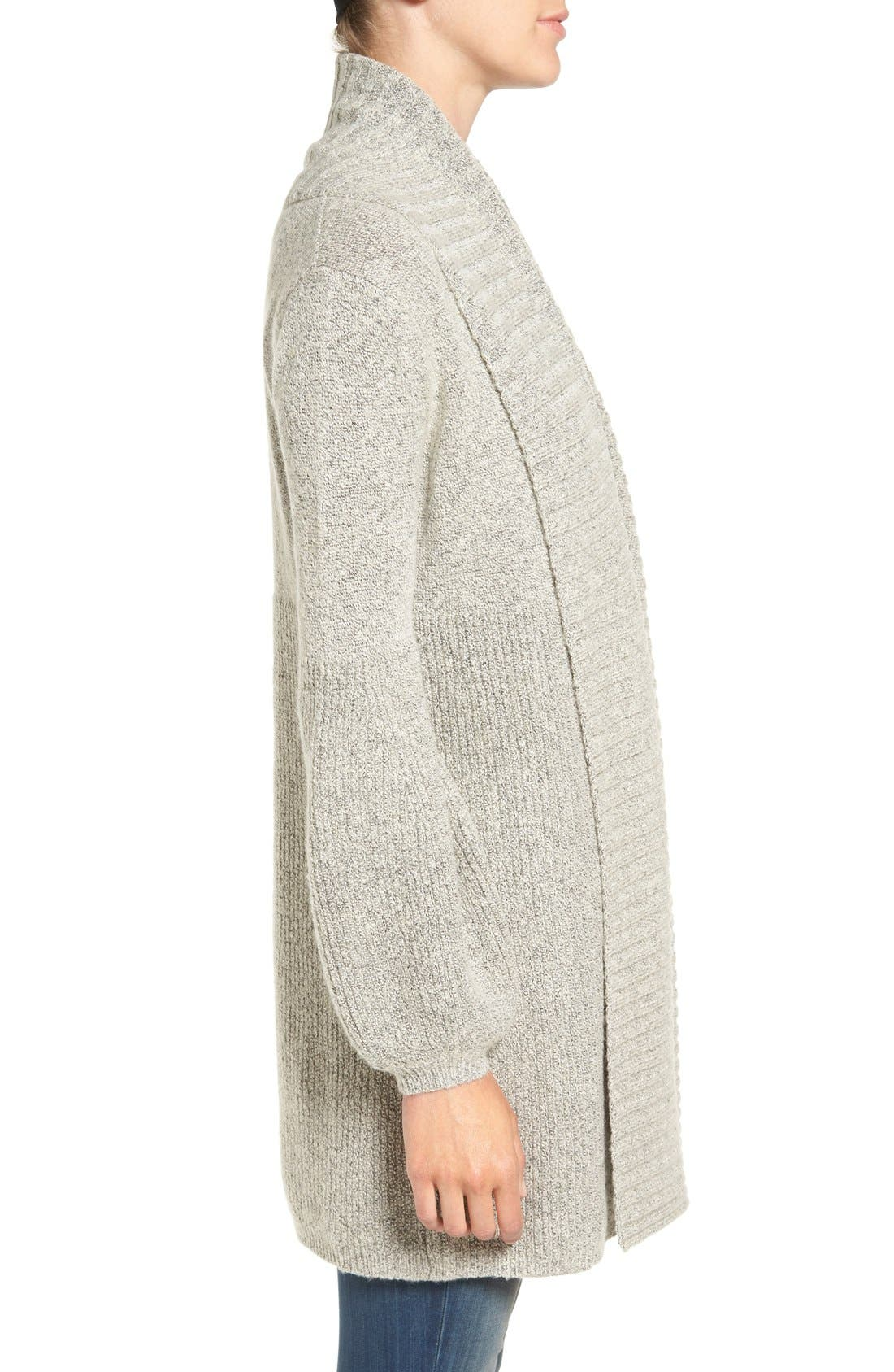 Ribbed Cardigan,                             Alternate thumbnail 3, color,                             Grey Chime Heather