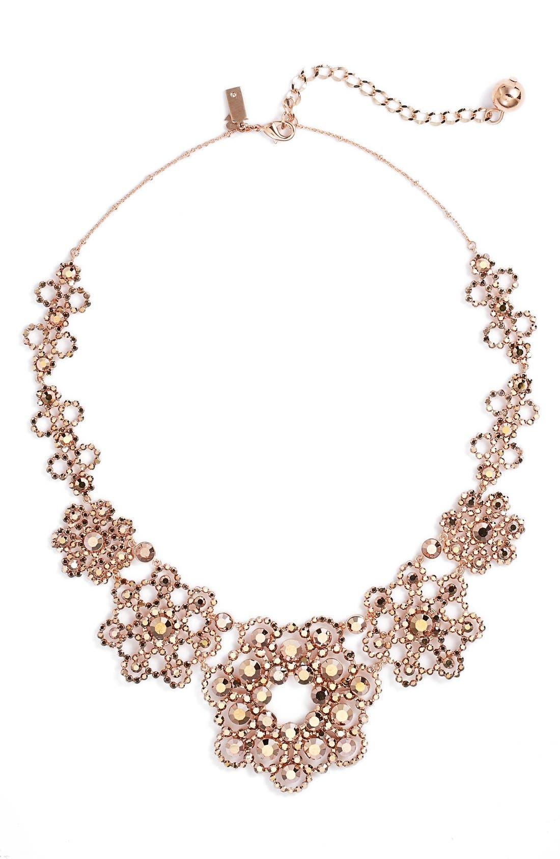 crystal lace collar necklace,                         Main,                         color, Rose Gold