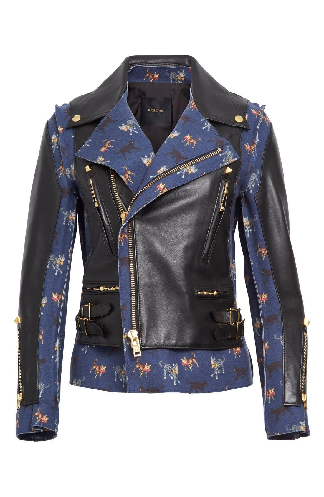 Alternate Image 4  - Undercover Leather & Wool Moto Jacket