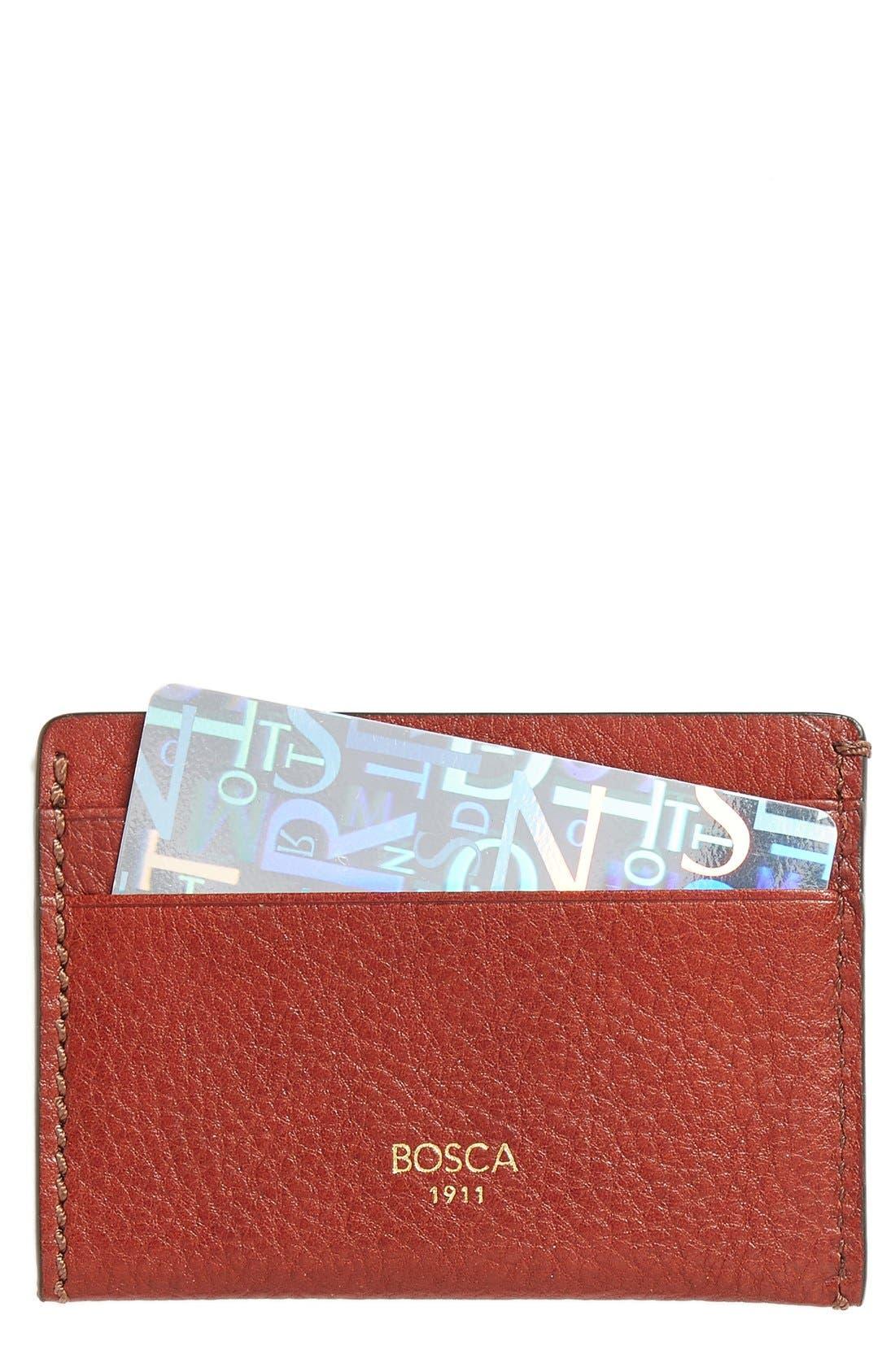 Leather Card Case,                         Main,                         color, Cognac
