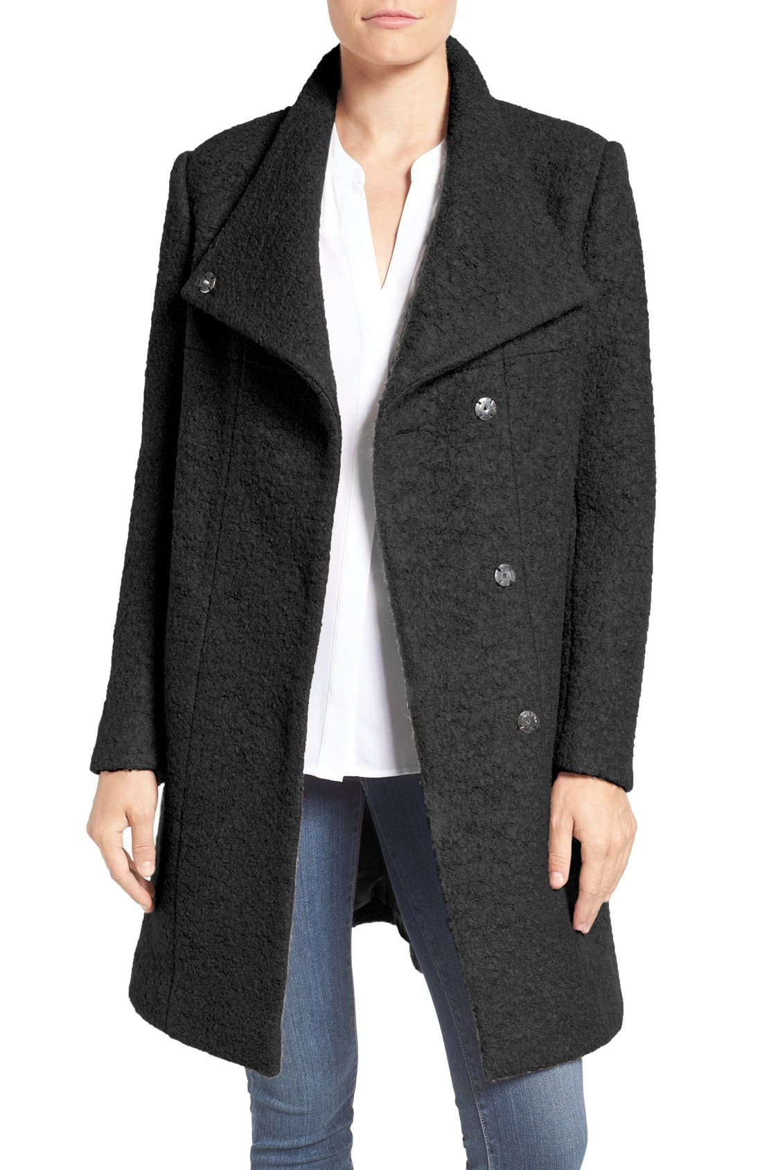 Pressed Bouclé Coat,                         Main,                         color, Black