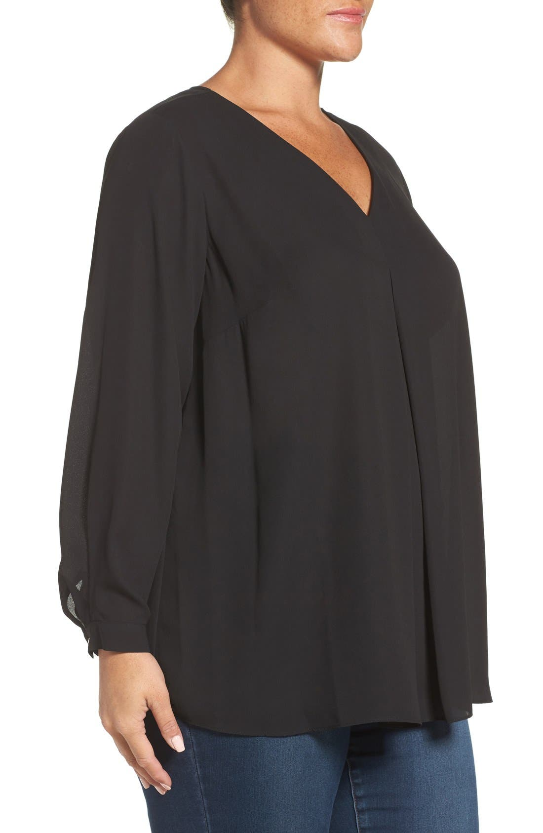 Pleat Front V-Neck Blouse,                             Alternate thumbnail 3, color,                             Rich Black