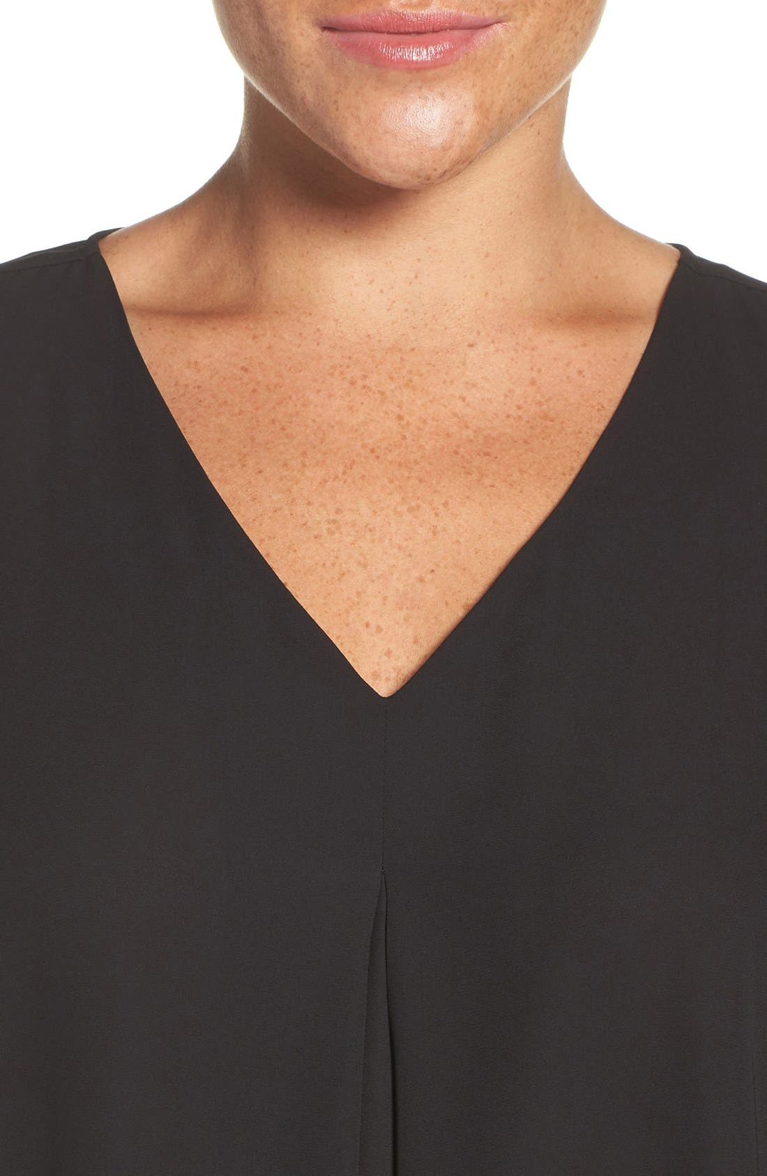 Pleat Front V-Neck Blouse,                             Alternate thumbnail 4, color,                             Rich Black