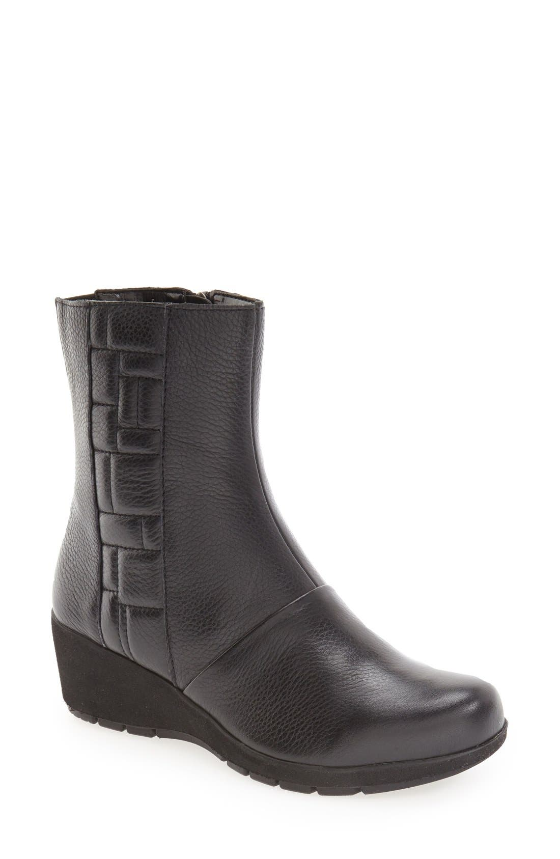 'Jane' Wedge Bootie,                             Main thumbnail 1, color,                             Black Leather