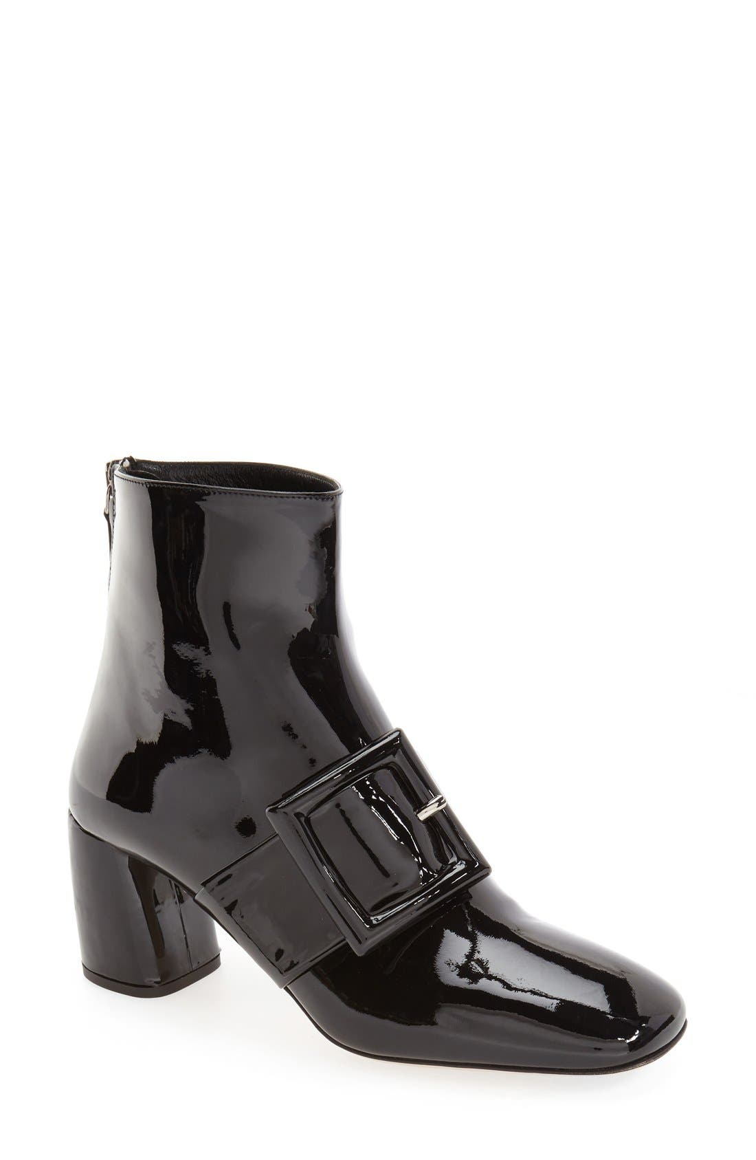 Alternate Image 1 Selected - Miu Miu Wrapped Buckle Square Toe Bootie (Women)