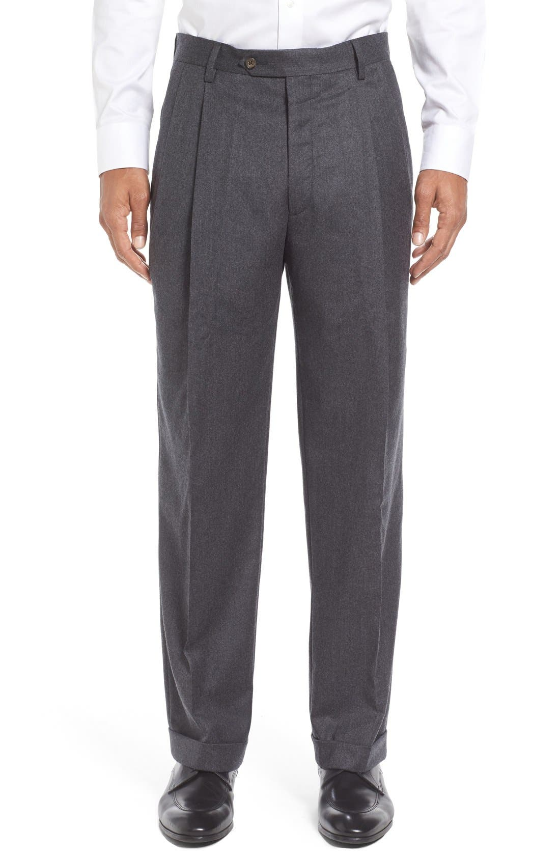Pleated Solid Wool Trousers,                         Main,                         color, Medium Grey