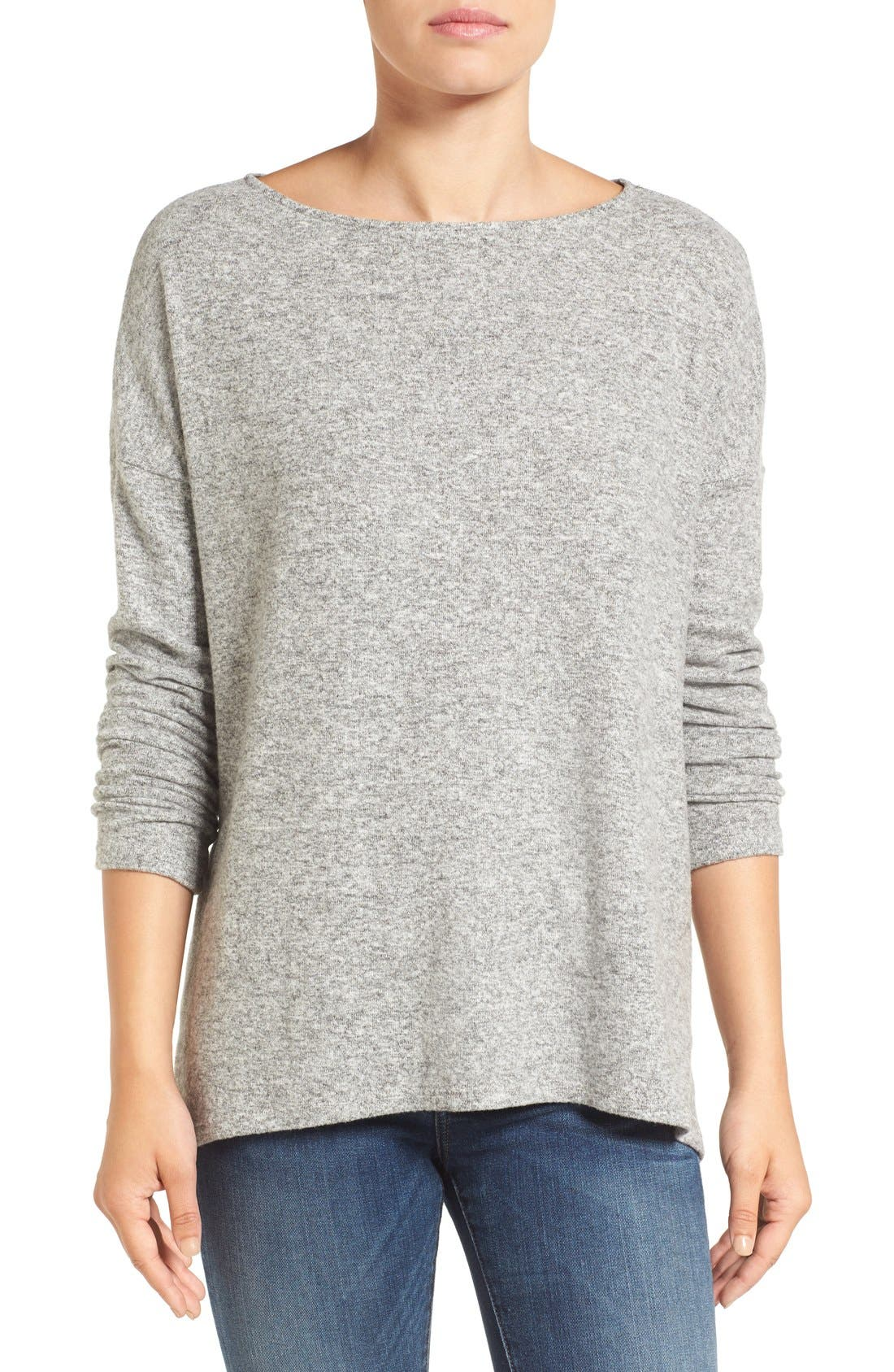 Main Image - Gibson Cozy Fleece Ballet Neck High/Low Pullover (Regular & Petite)