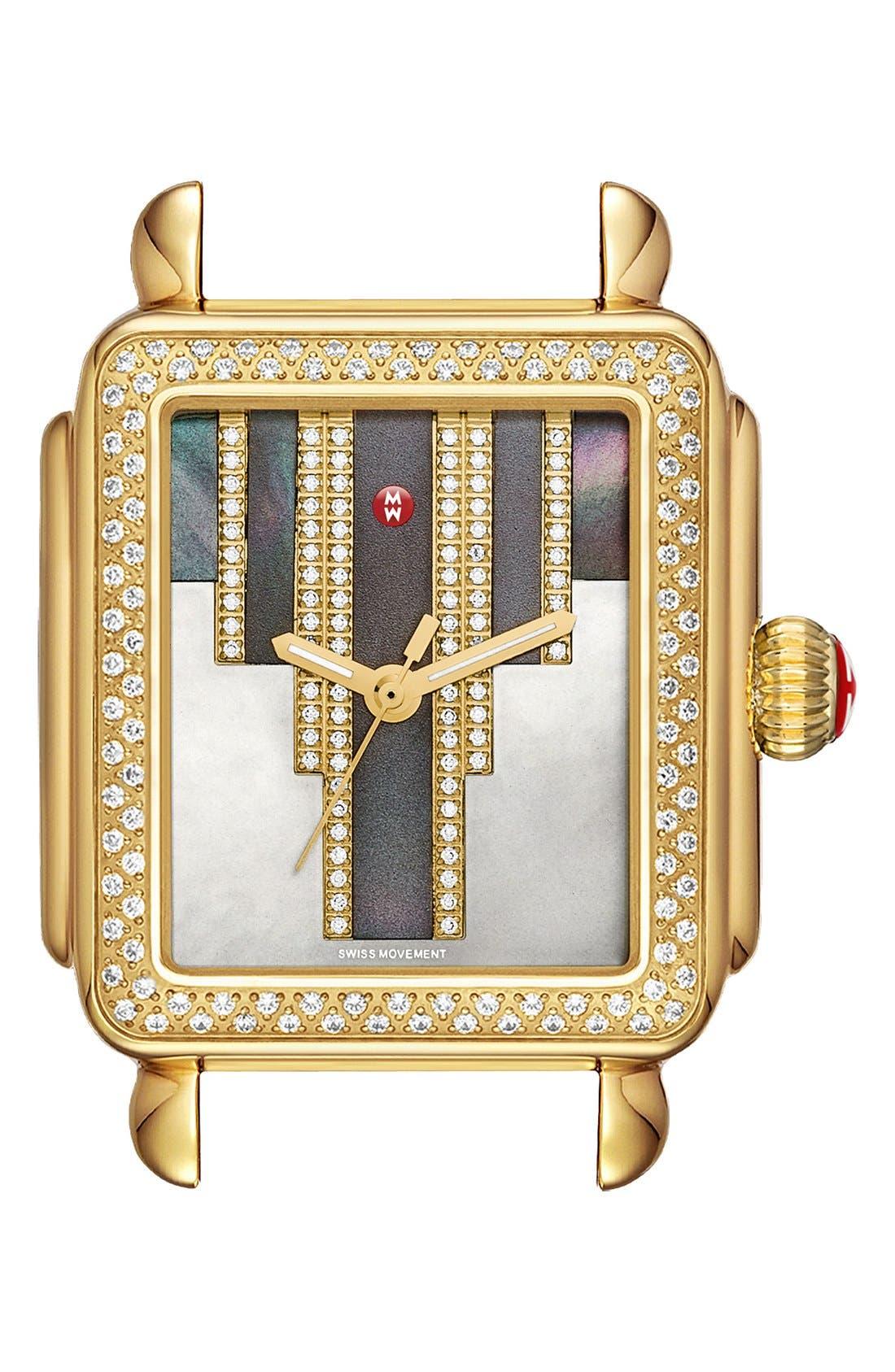 Deco Skyline Diamond Diamond Dial Watch Case, 33mm,                             Main thumbnail 1, color,                             Gold