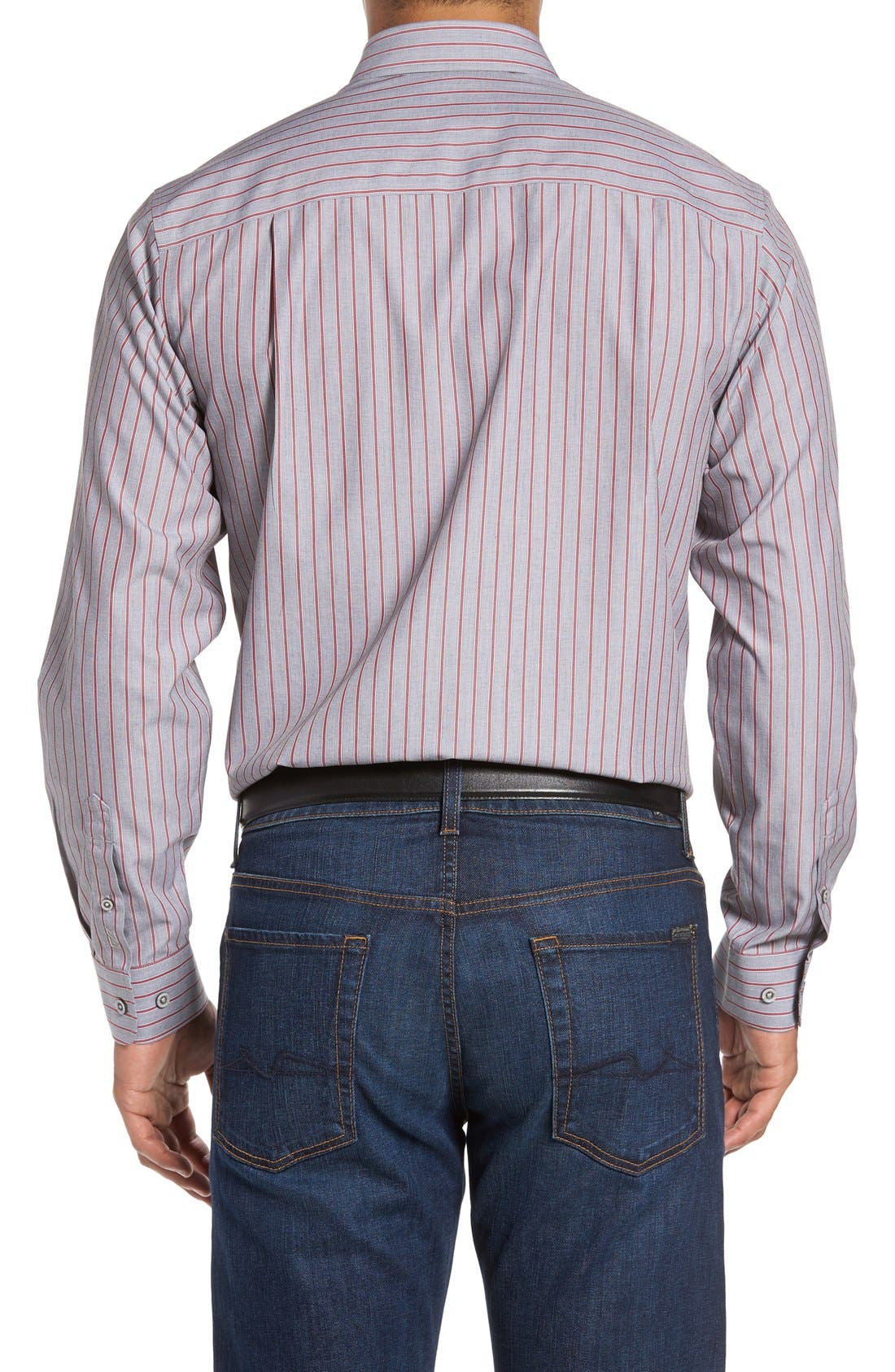Alternate Image 2  - Cutter & Buck 'Peak' Classic Fit Wrinkle Free Stripe Sport Shirt