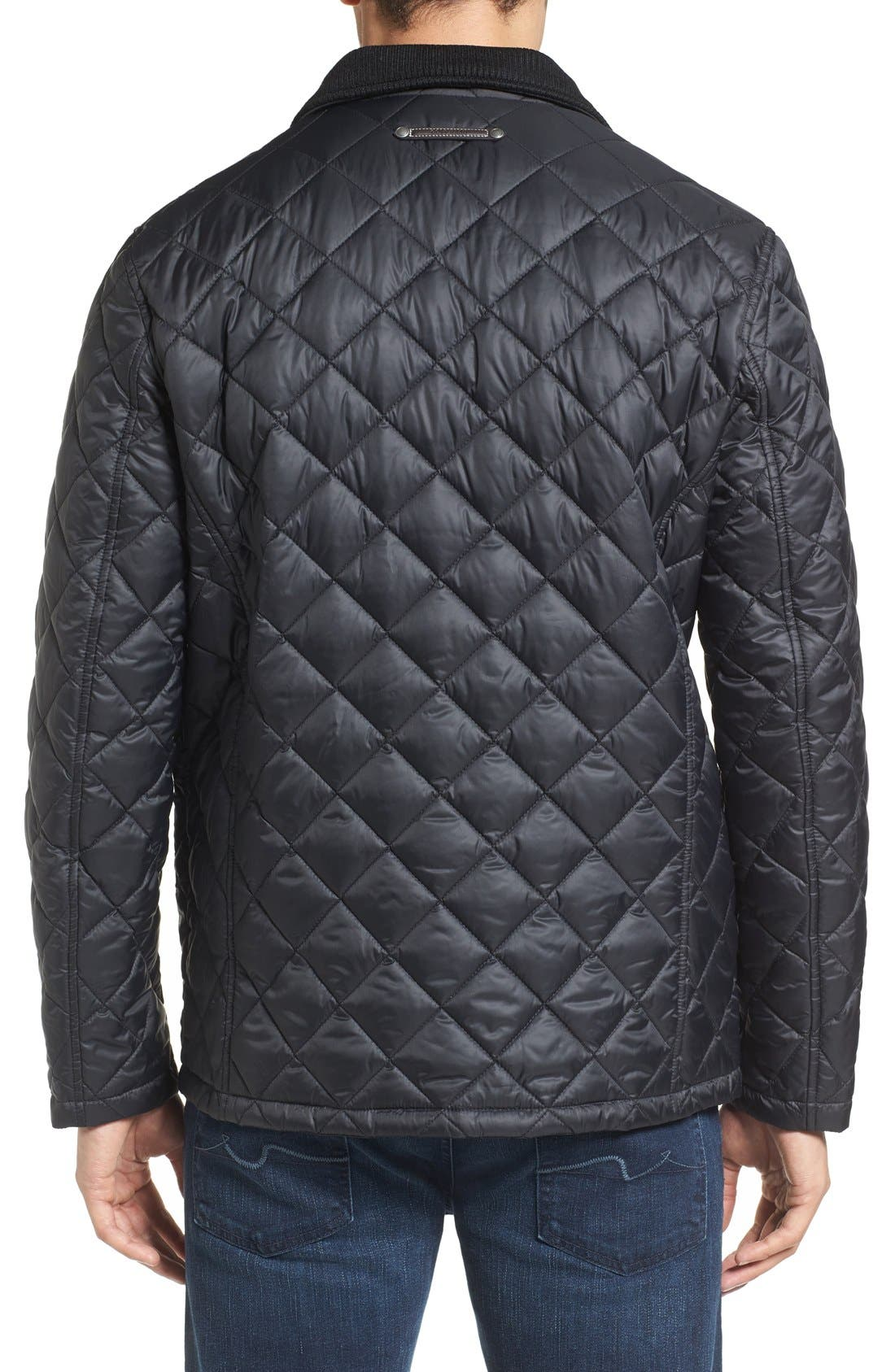 Diamond Quilted Jacket,                             Alternate thumbnail 12, color,                             Navy