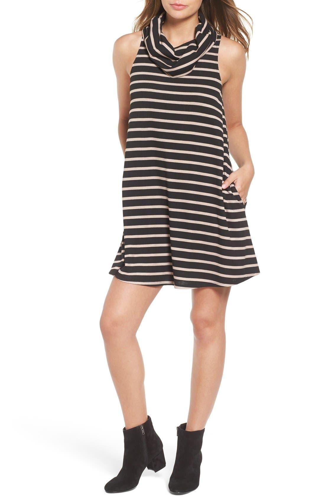 Cowl Neck Shift Dress,                             Main thumbnail 1, color,                             Black / Taupe Rib