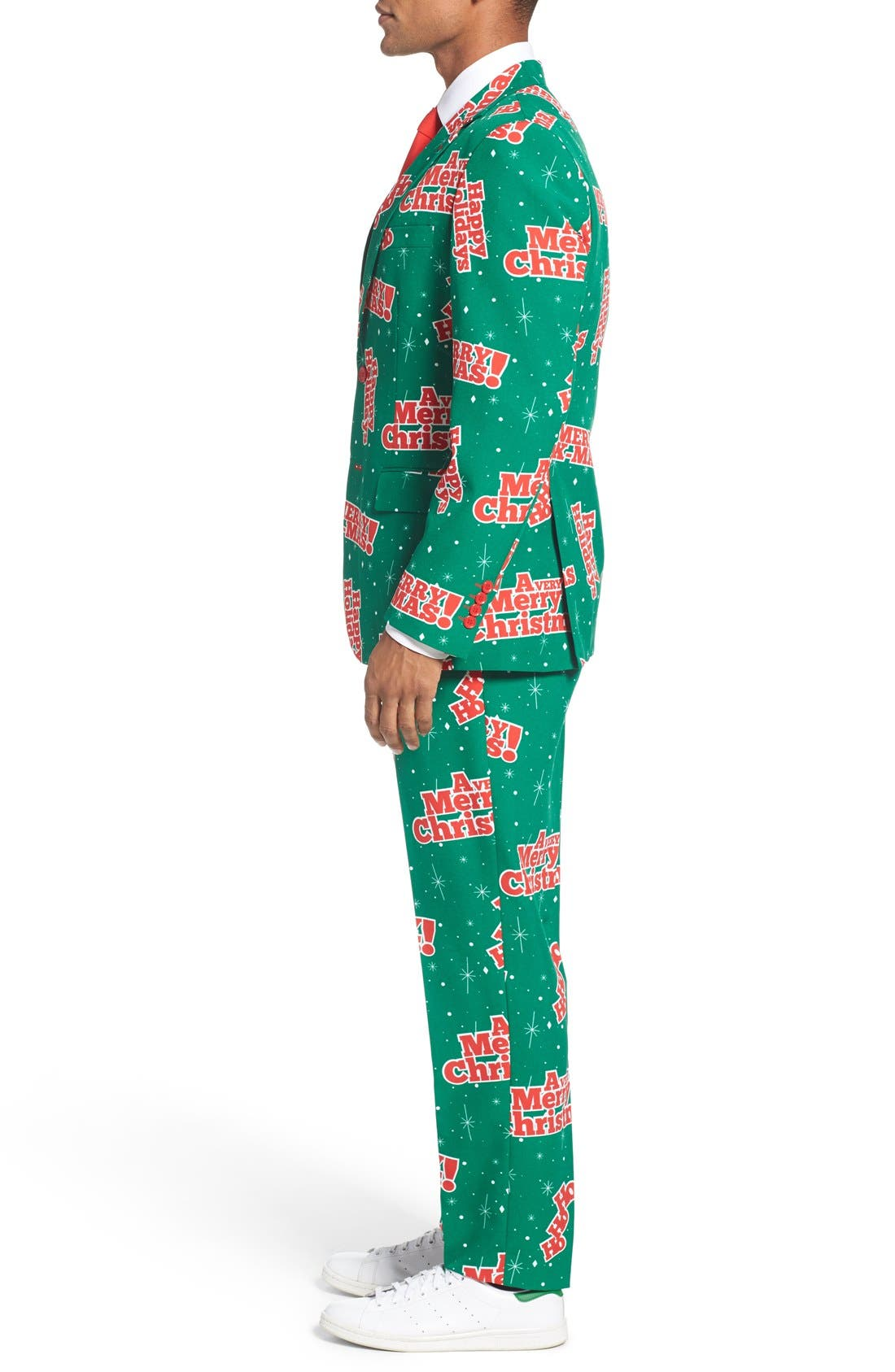 'Happy Holidude' Trim Fit Two-Piece Suit with Tie,                             Alternate thumbnail 3, color,                             Dark Green