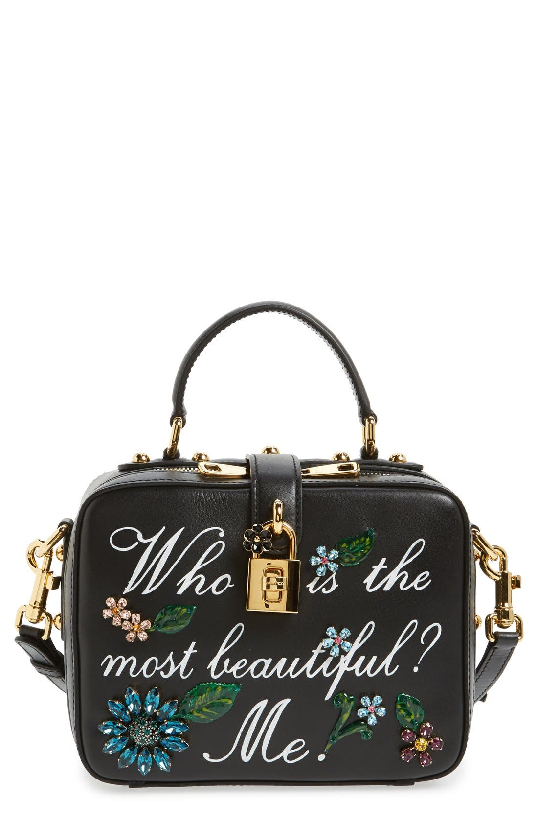 Alternate Image 1 Selected - Dolce&Gabanna 'Small - Most Beautiful' Crystal Flower Embellished Leather Handbag