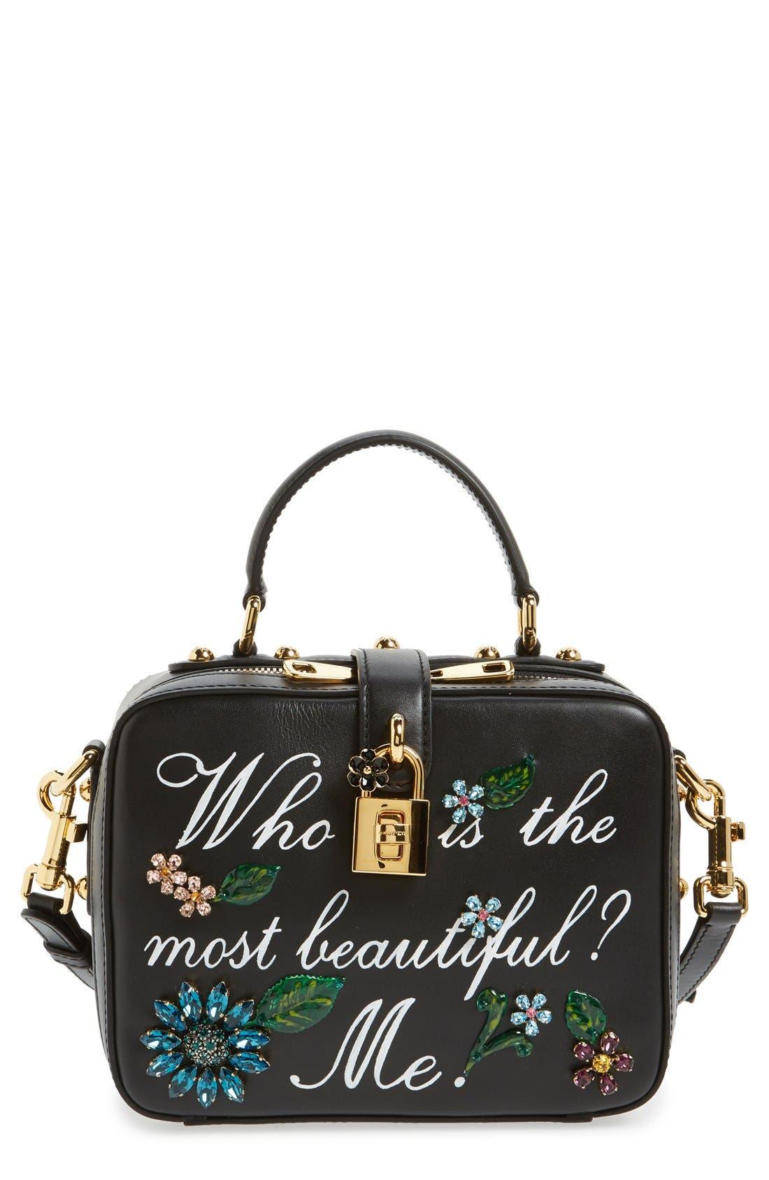 Main Image - Dolce&Gabanna 'Small - Most Beautiful' Crystal Flower Embellished Leather Handbag
