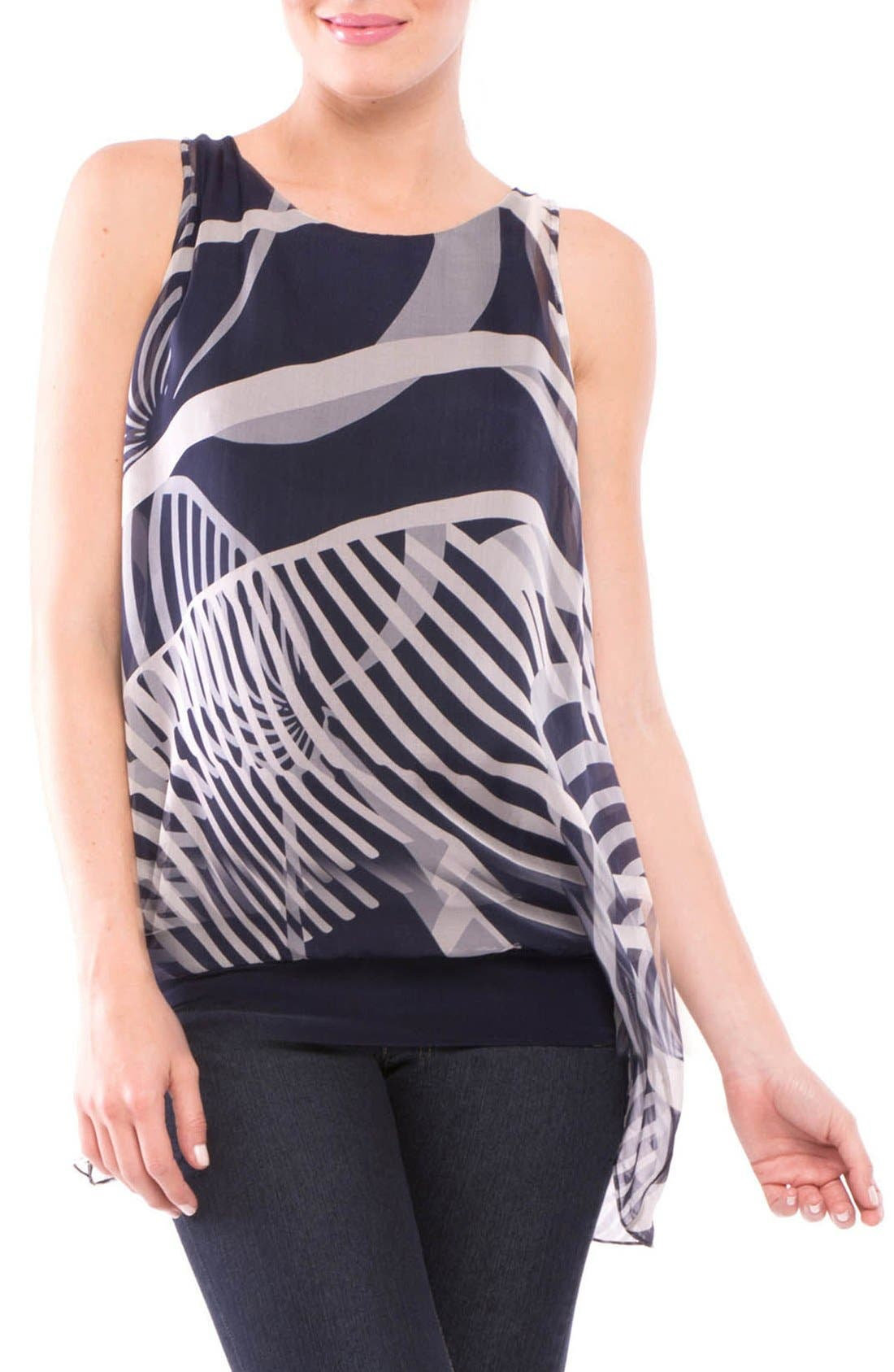 Olian Ava Sleeveless Silk Maternity Top