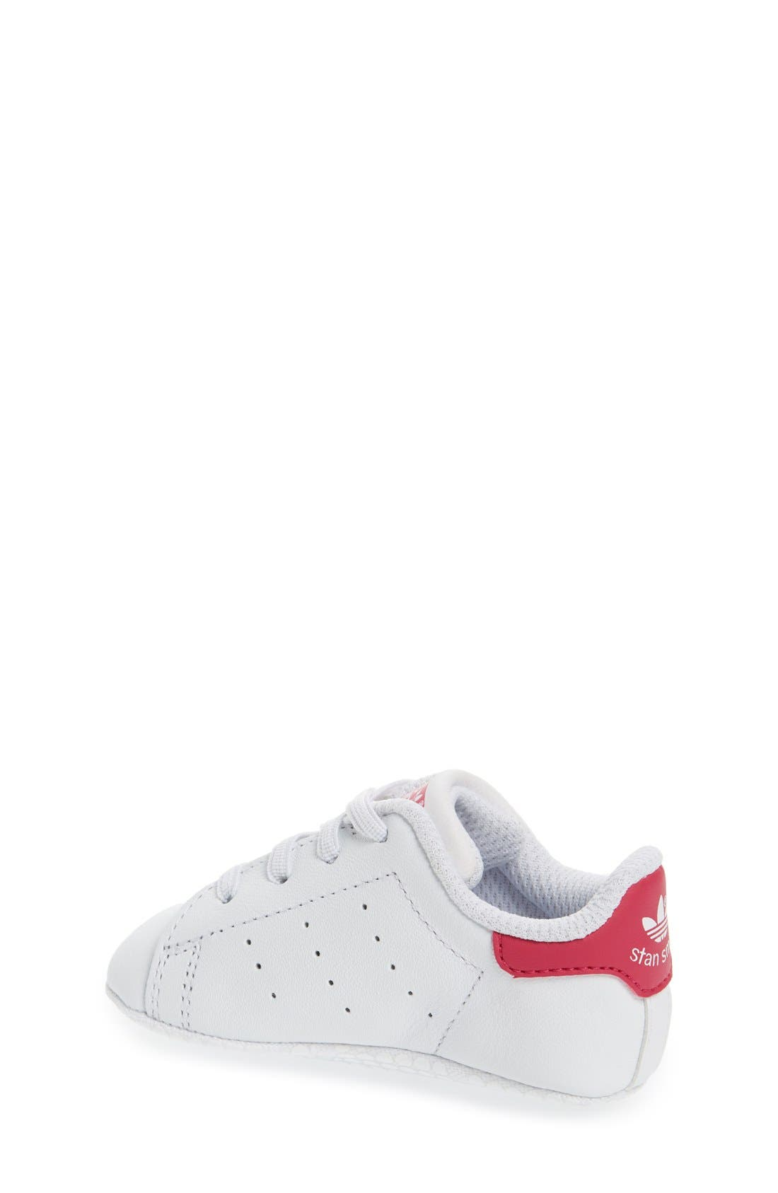 'Stan Smith' Crib Sneaker,                             Alternate thumbnail 2, color,                             White/ White/ Pink