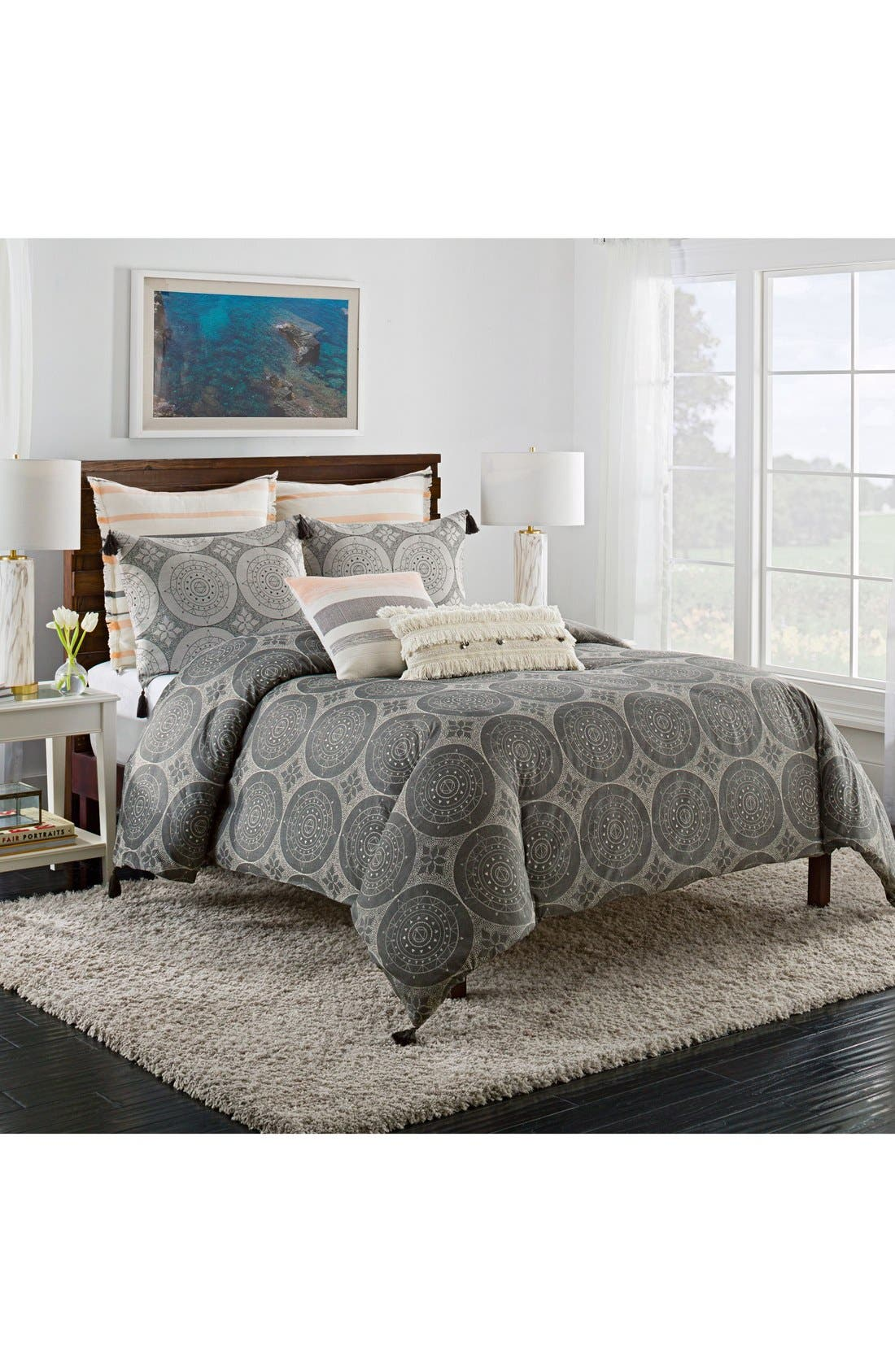 Dotted Medallion Duvet Cover,                         Main,                         color, Grey