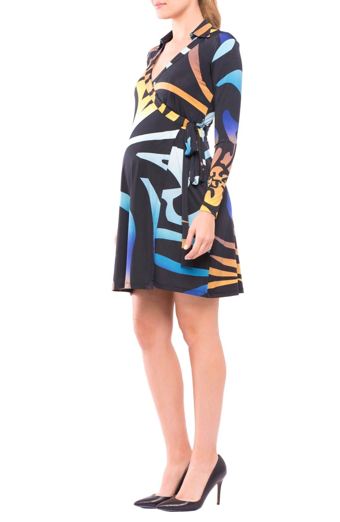 Lorraine Wrap Maternity Dress,                             Alternate thumbnail 3, color,                             Pink/ Blue Print