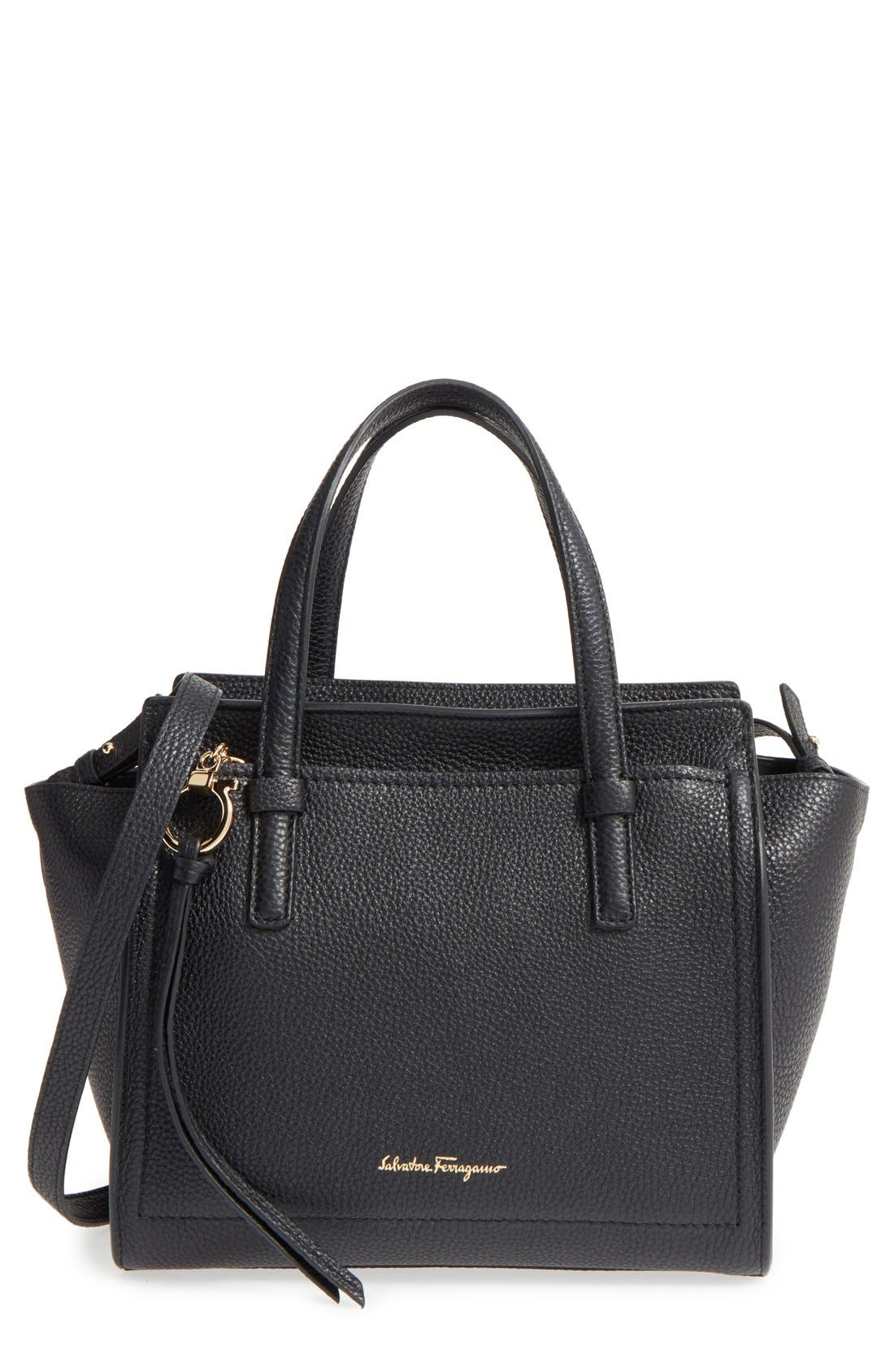 Small Amy Pebbled Leather Tote,                         Main,                         color, Nero