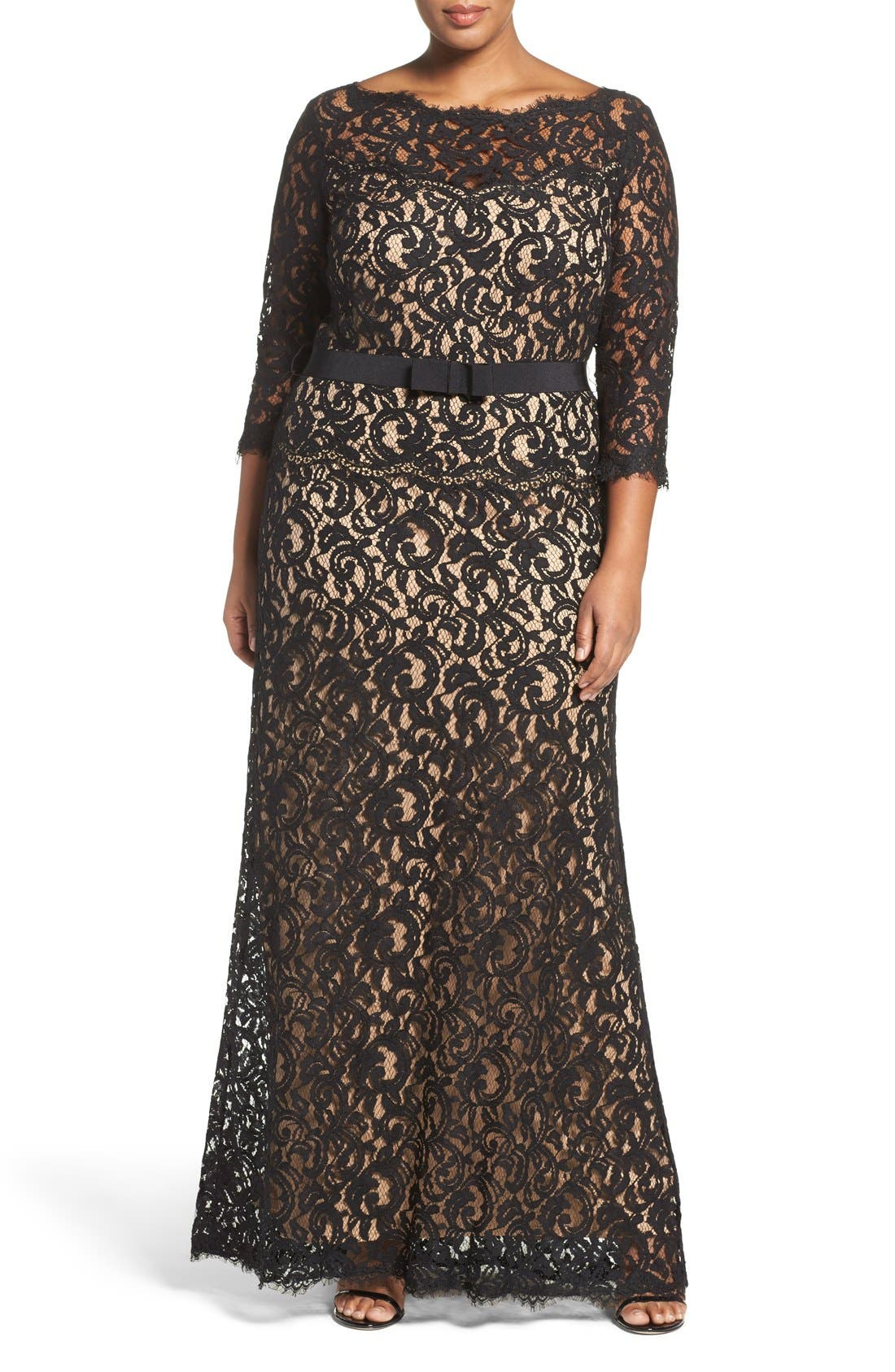 Alternate Image 1 Selected - Tadashi Shoji Mock Two Piece Lace Gown (Plus Size)