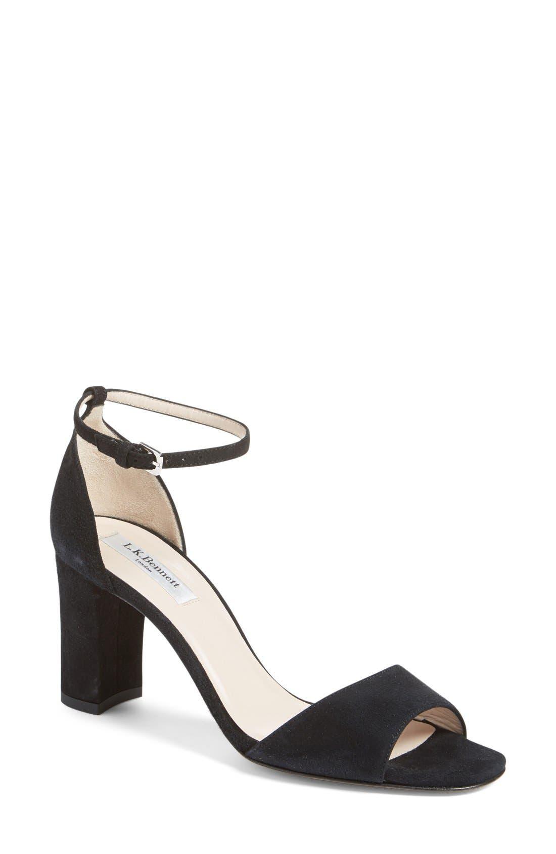 L.K. Bennett 'Helena' Ankle Strap Block Heel Sandal (Women)