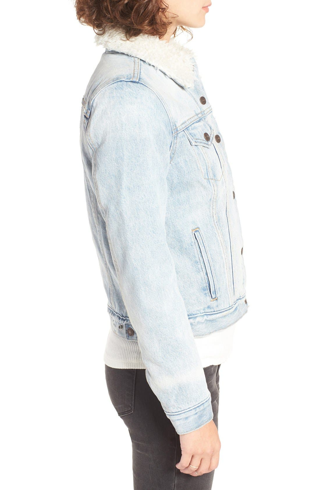 Alternate Image 3  - Levi's® Trucker Jacket with Faux Fur Trim (East Alley)