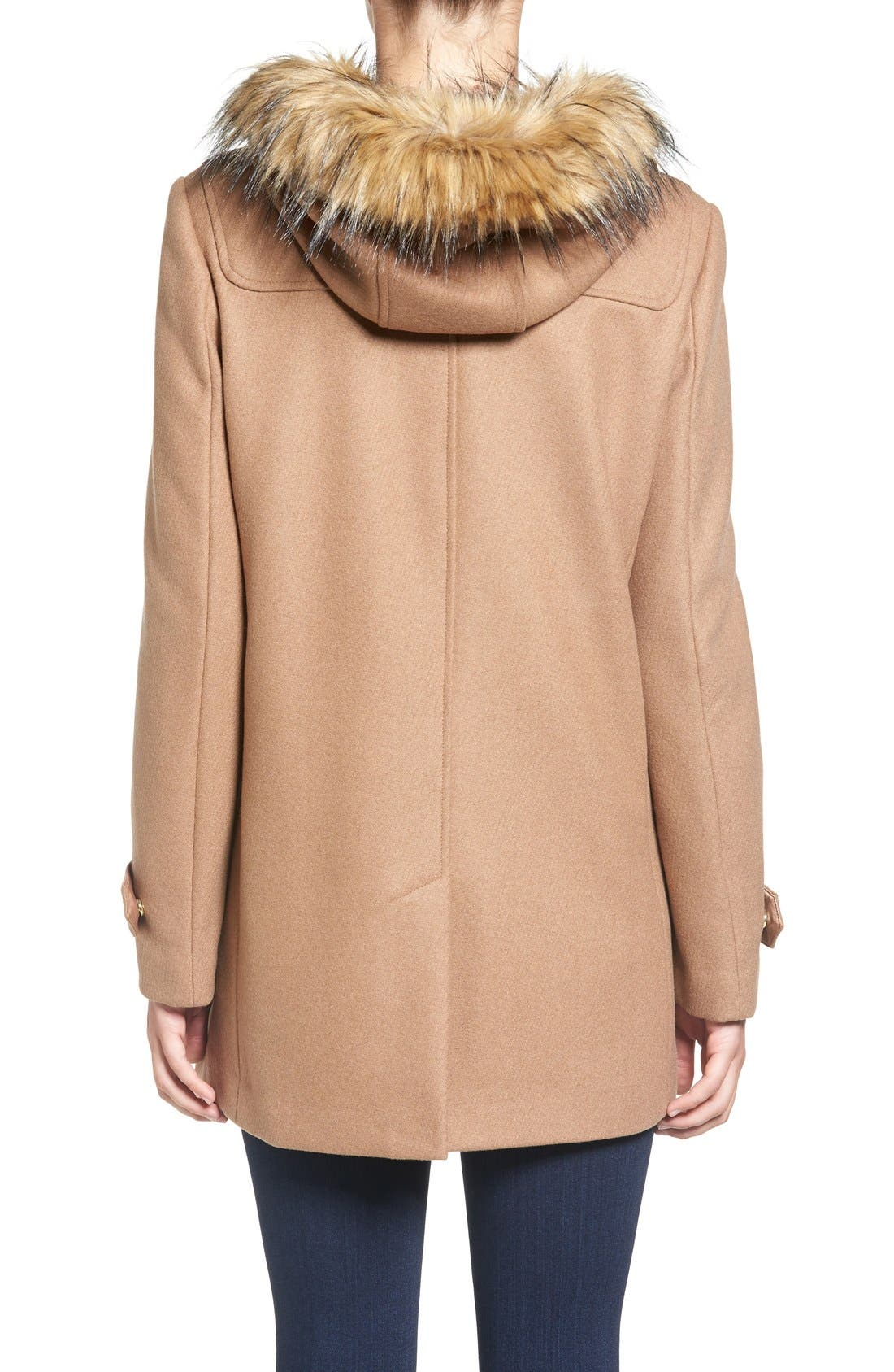 Cole Haan Hooded Duffle Coat with Faux Fur Trim,                             Alternate thumbnail 2, color,                             Camel