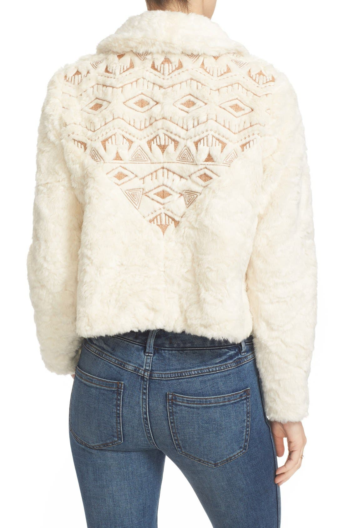 Alternate Image 3  - Free People Embroidered Faux Fur Jacket