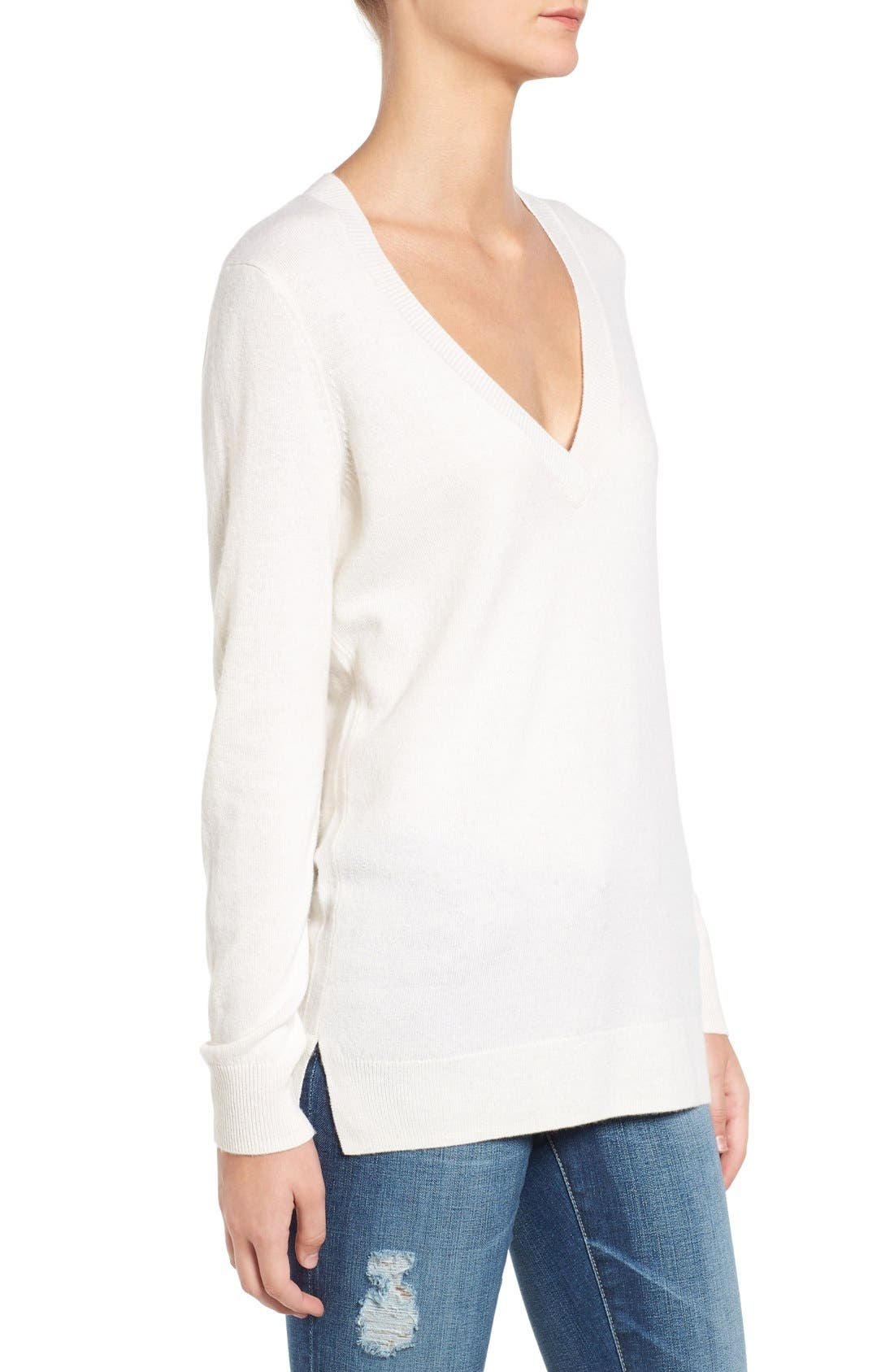 Luna V-Neck Merino & Cashmere Tunic Sweater,                             Alternate thumbnail 3, color,                             Powdered White