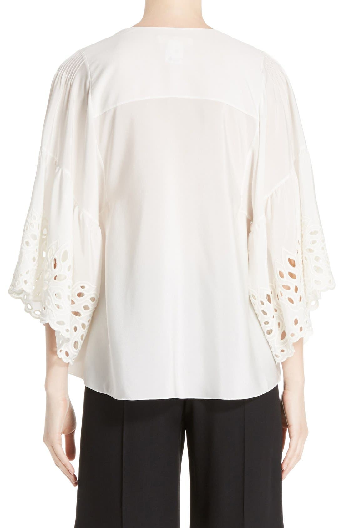 Palm Lace Silk Blouse,                             Alternate thumbnail 2, color,                             Milk