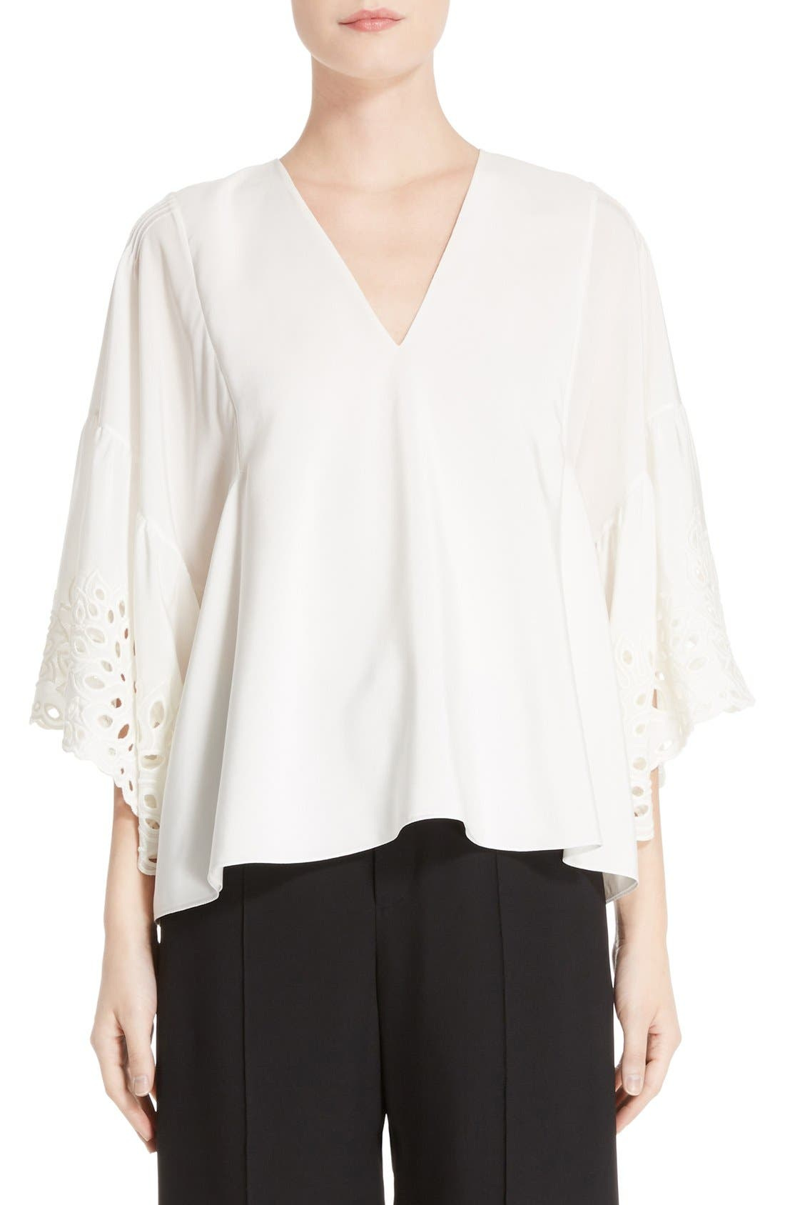 Palm Lace Silk Blouse,                         Main,                         color, Milk