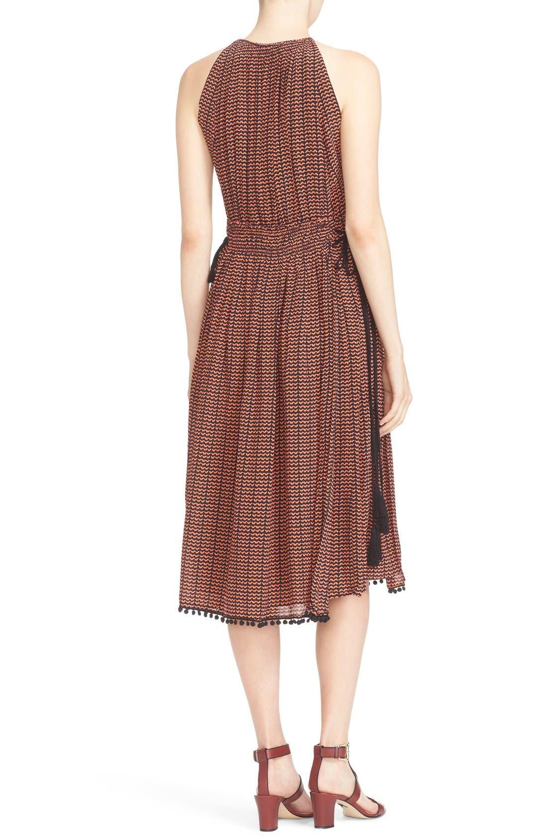 'Lippard' Tassel Trim Silk Dress,                             Alternate thumbnail 2, color,                             Tiny Ripples Print