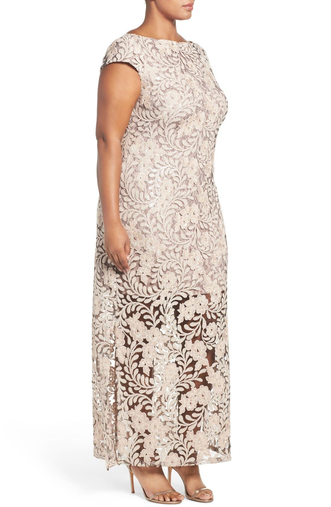 Alternate Image 3  - Brianna Sequin Lace Column Gown (Plus Size)