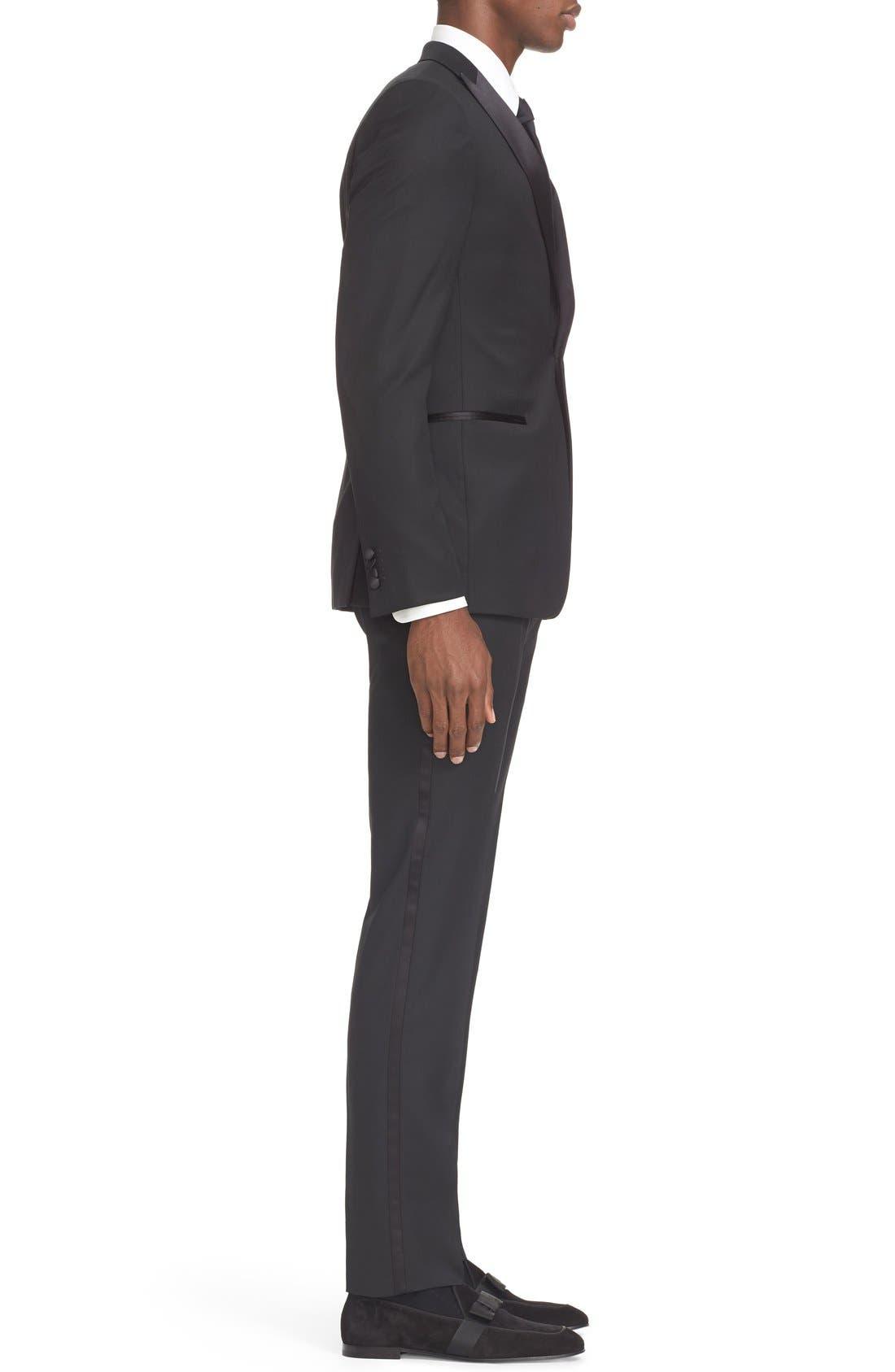 Trim Fit Wool & Mohair Tuxedo,                             Alternate thumbnail 3, color,                             Black
