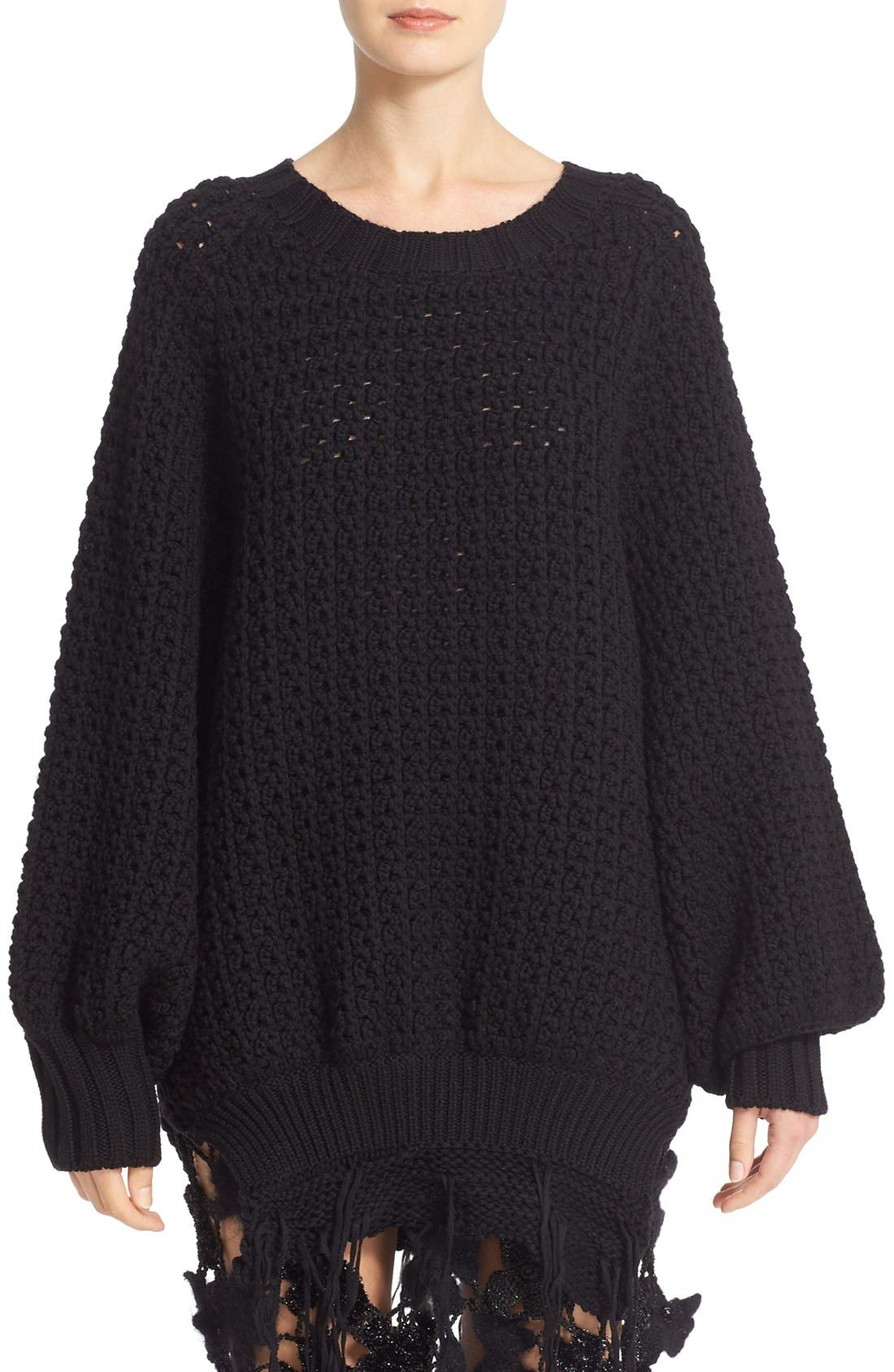 Main Image - Simone Rocha Long Chunky Knit Wool Sweater with Fringe
