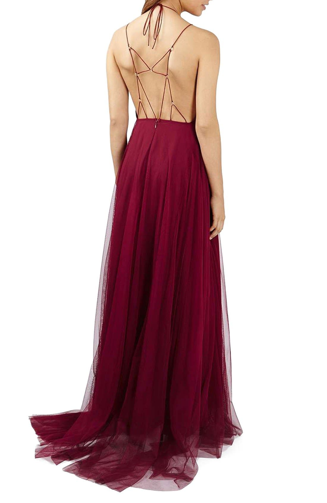 Alternate Image 2  - Topshop Lace-Up Tulle Maxi Dress