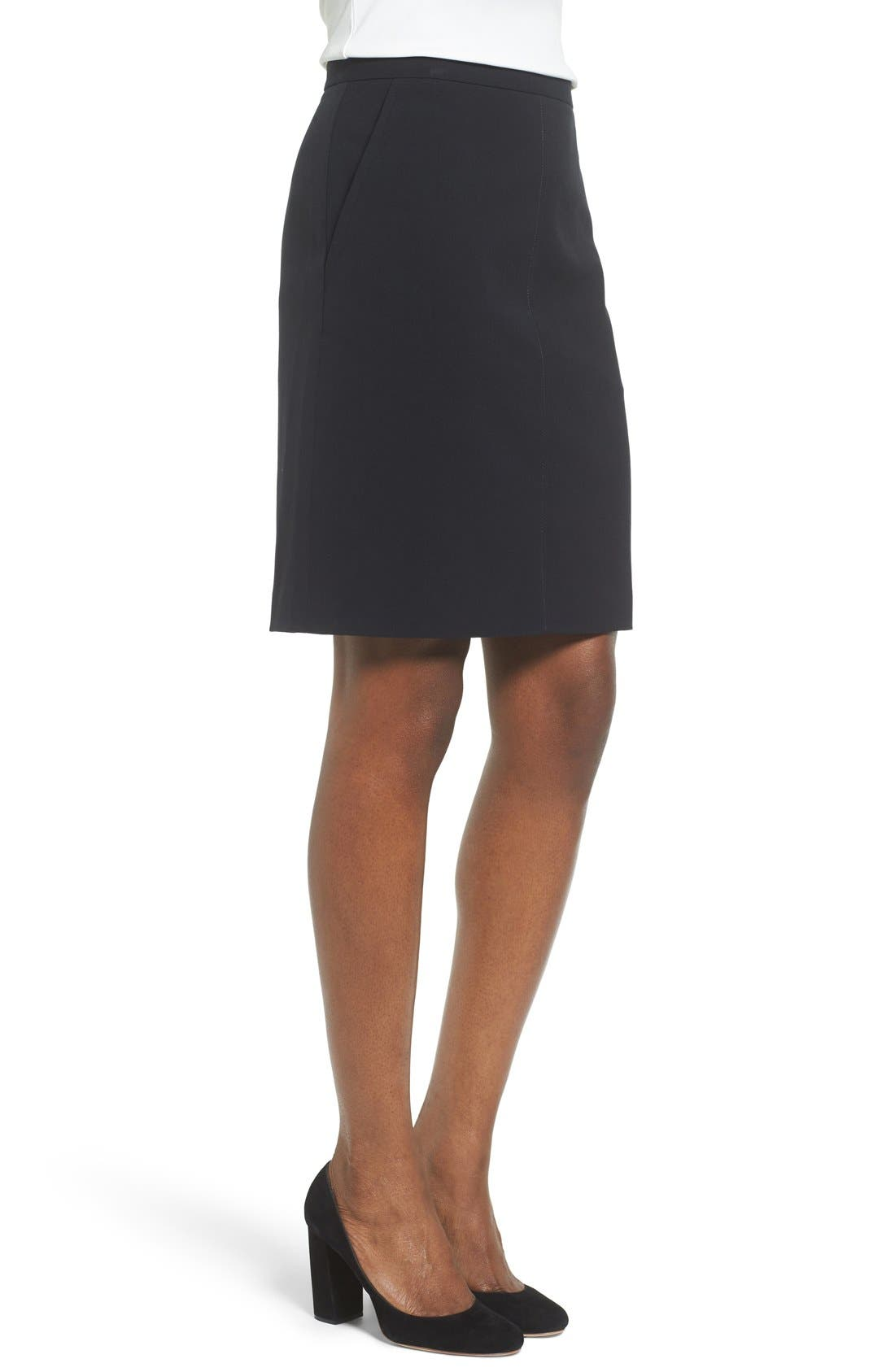 Two-Pocket Suit Skirt,                             Alternate thumbnail 3, color,                             Anne Klein Black