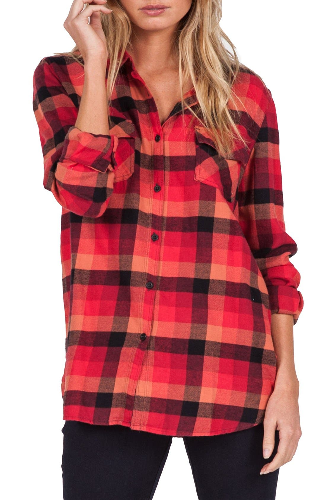 Alternate Image 1 Selected - Volcom Desert High Plaid Top