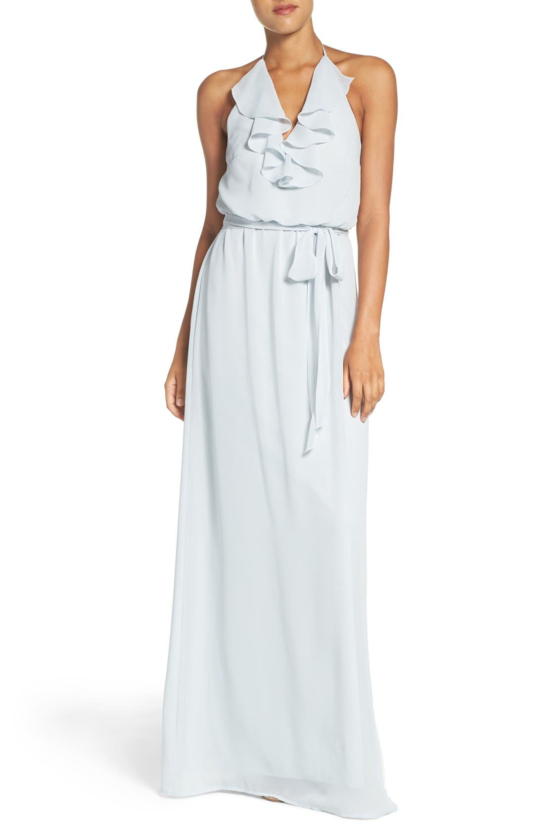 Alternate Image 1 Selected - nouvelle AMSALE 'Dani' Ruffle Neck V-Neck Halter Gown