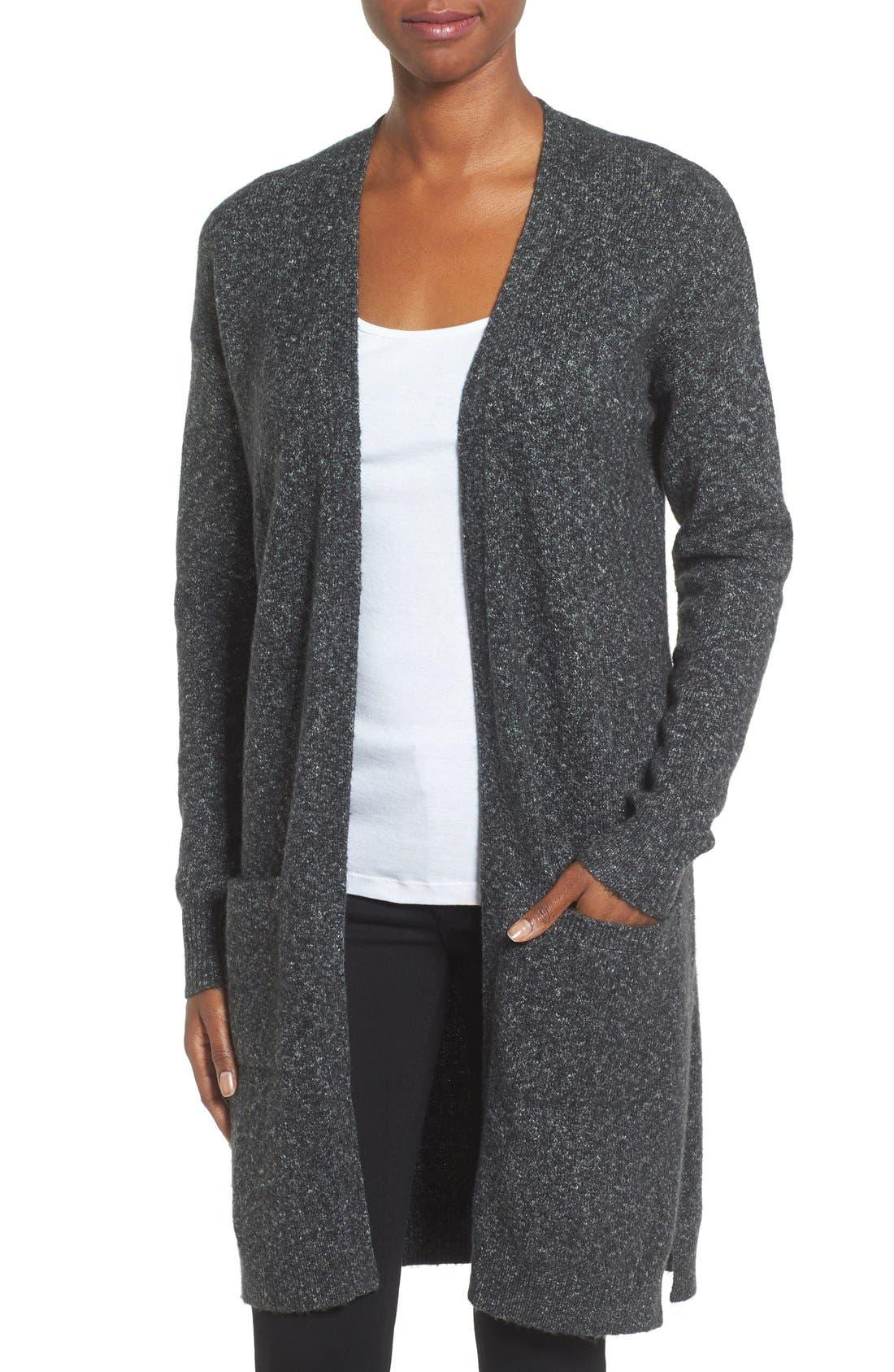 Long Knit Cardigan,                         Main,                         color, Charcoal Marl