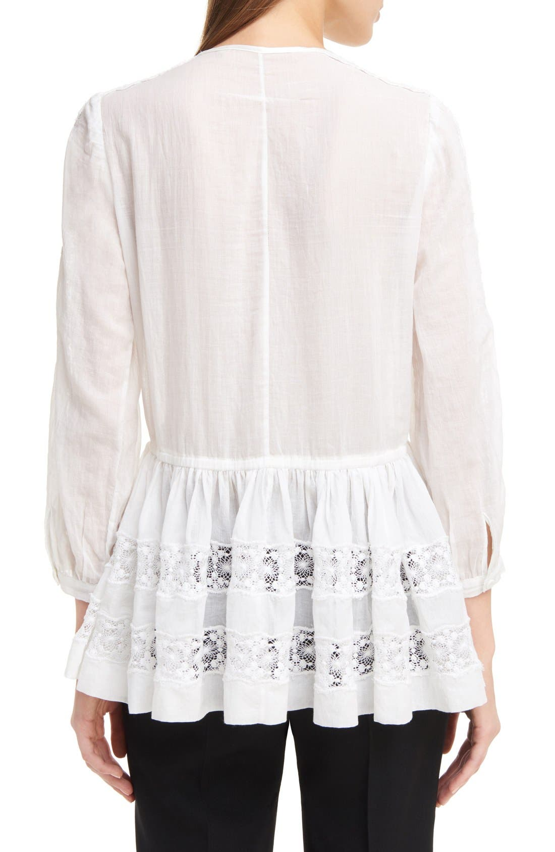 Alternate Image 2  - Givenchy Ruffle Crepon Peasant Blouse