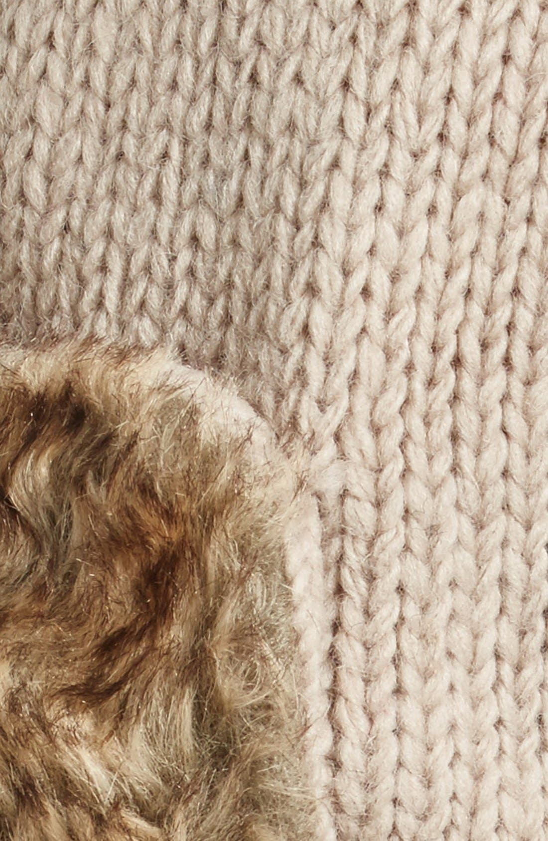 Earflap Hat with Faux Fur Trim,                             Alternate thumbnail 2, color,                             Oatmeal