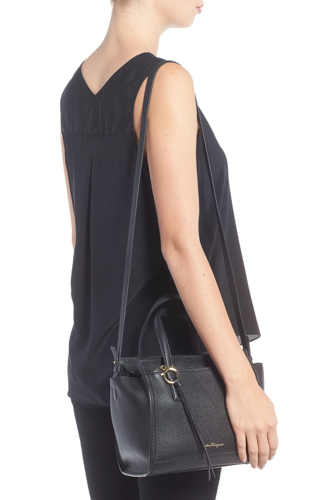 Small Amy Pebbled Leather Tote,                             Alternate thumbnail 2, color,                             Nero