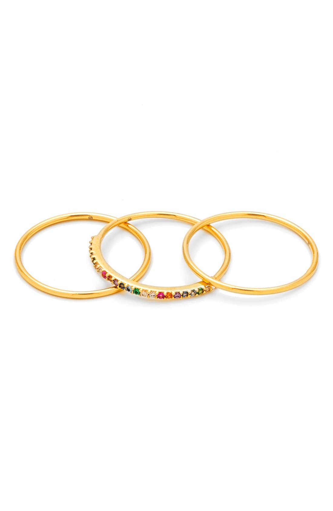 Shimmer Stackable Set of 3 Band Rings,                         Main,                         color, Rainbow